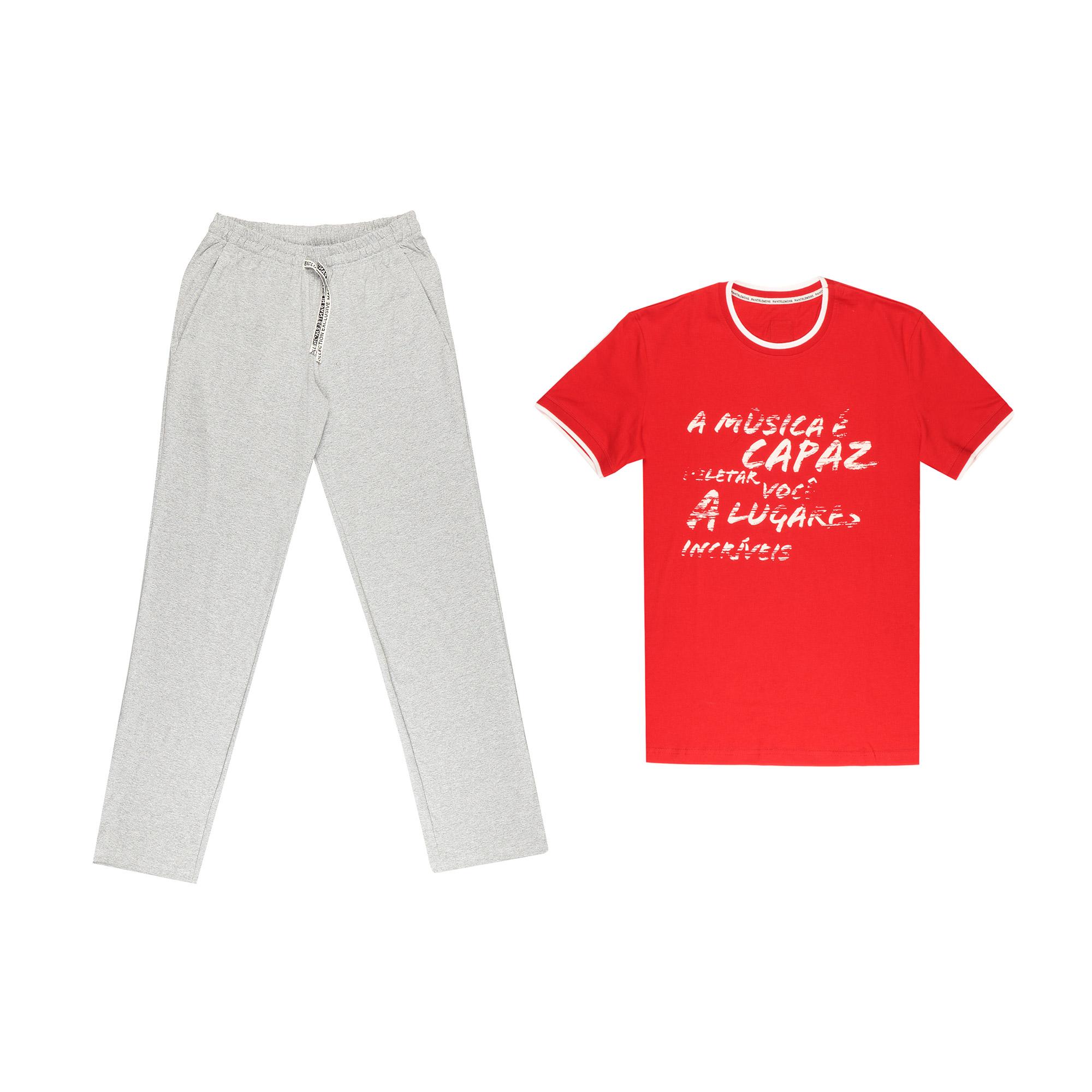 комплект домашний мужской vienetta s secret league капри футболка цвет сапфировый 711124 3286 размер 50 xl Домашний мужской комплект Pantelemone PDK-220 серо-красный 50