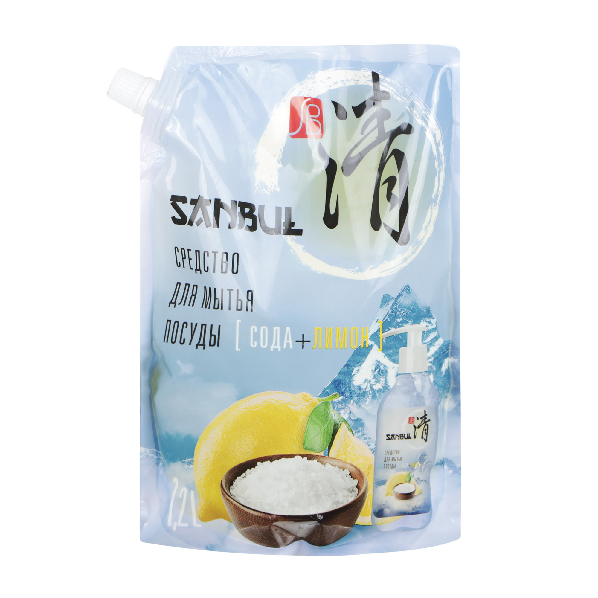 Средство для мытья посуды SANBUL Сода+Лимон 1,2 л