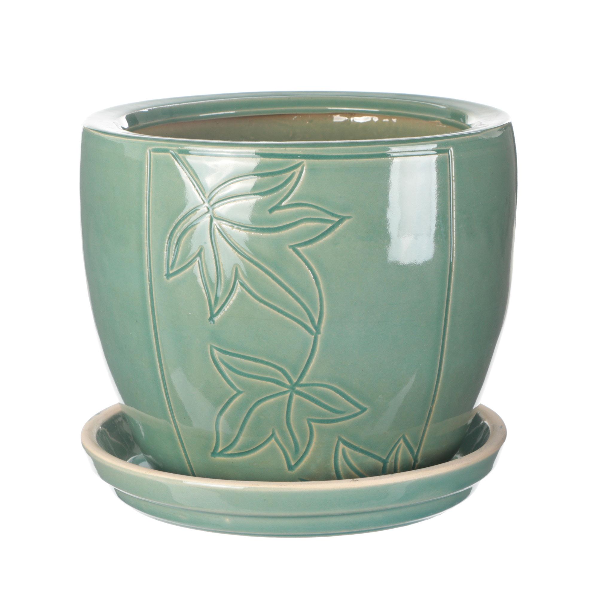 Горшок для цветов с поддоном Viet Thanh Зеленый цветовок d21