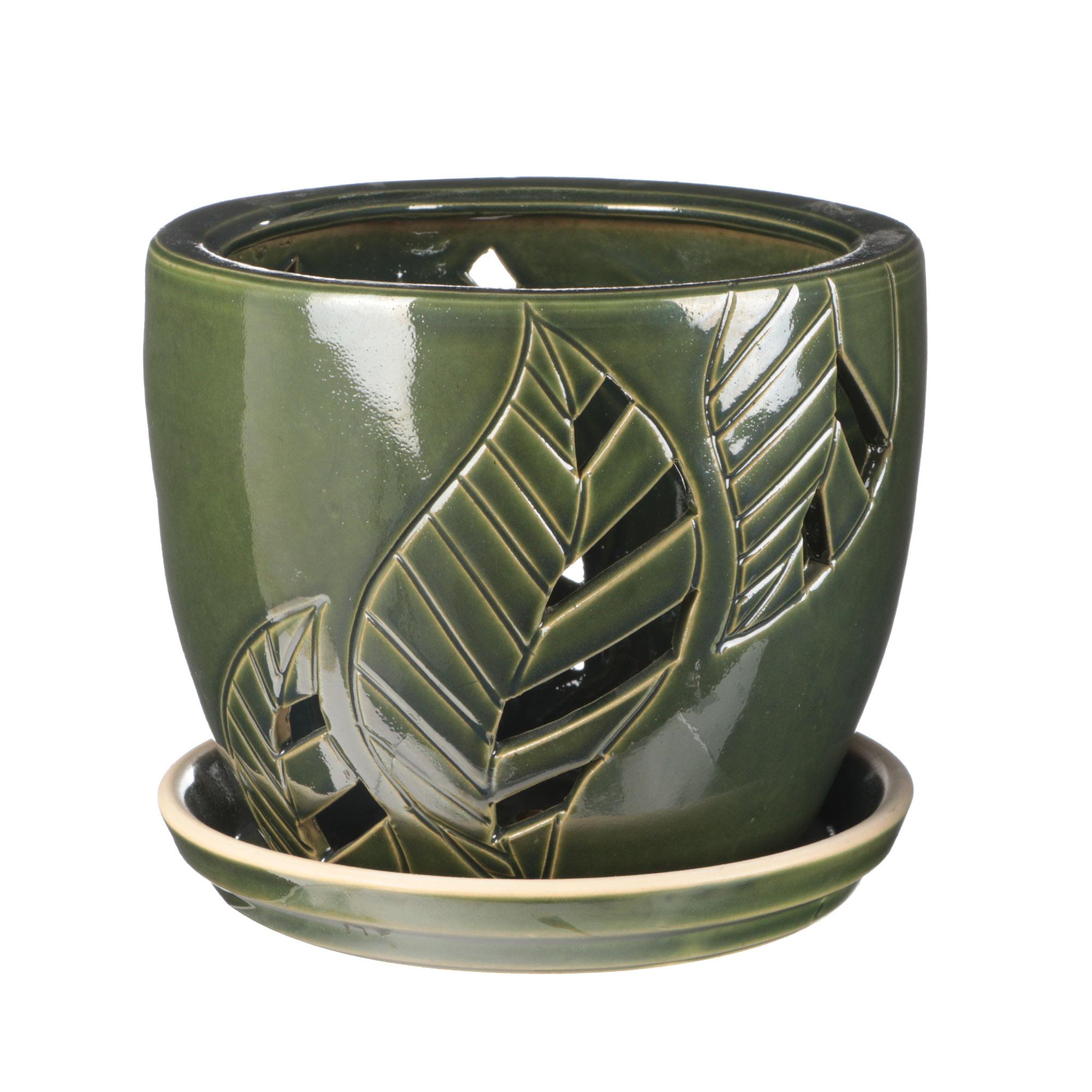 Горшок для цветов с поддоном Viet Thanh Зеленый лист d21