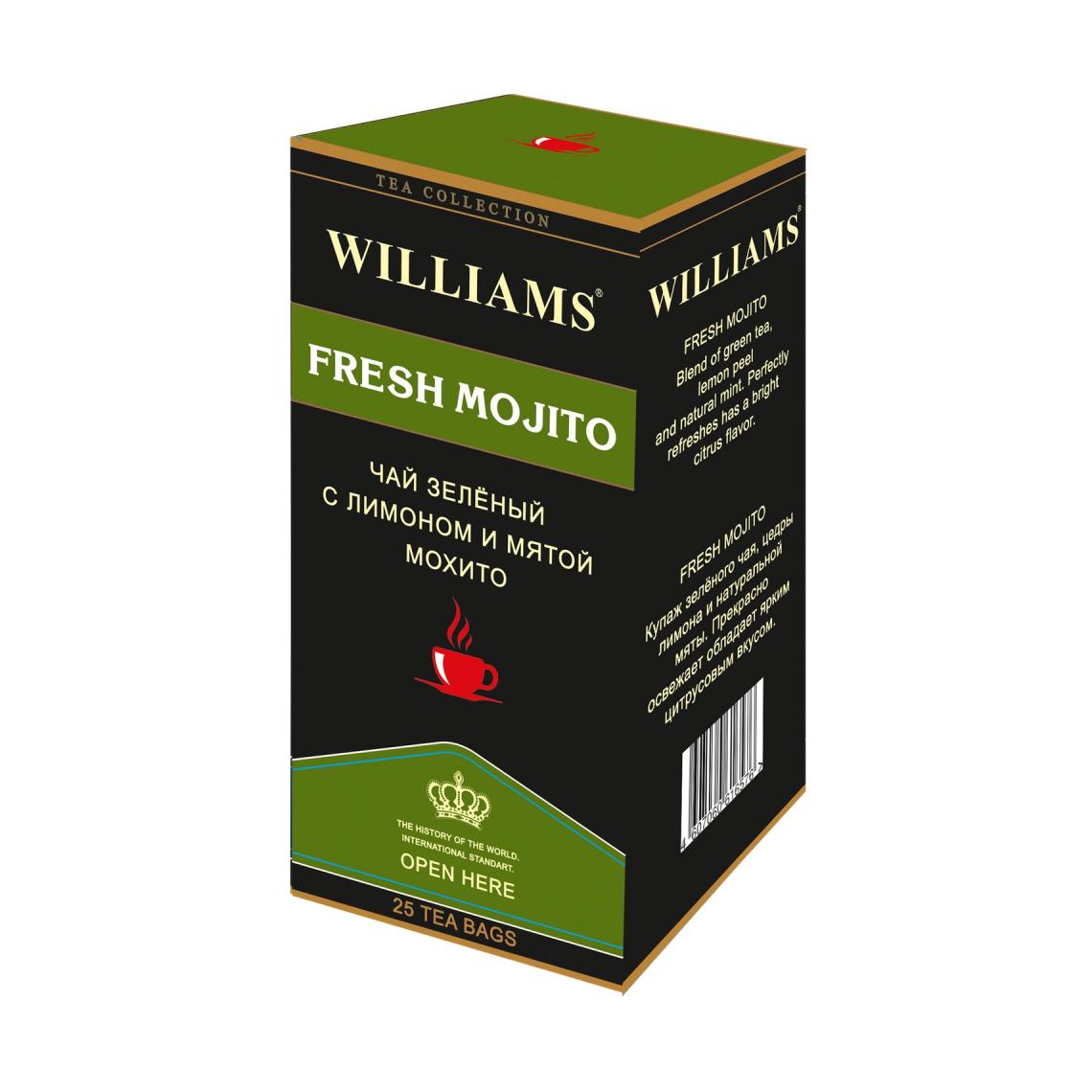 Чай Williams Fresh Mojito зеленый, с лимоном и мятой 25 пакетиков flavoring for deflector автопрофи mentos mr pilot fresh mojito fresh mojito 17g mnt100