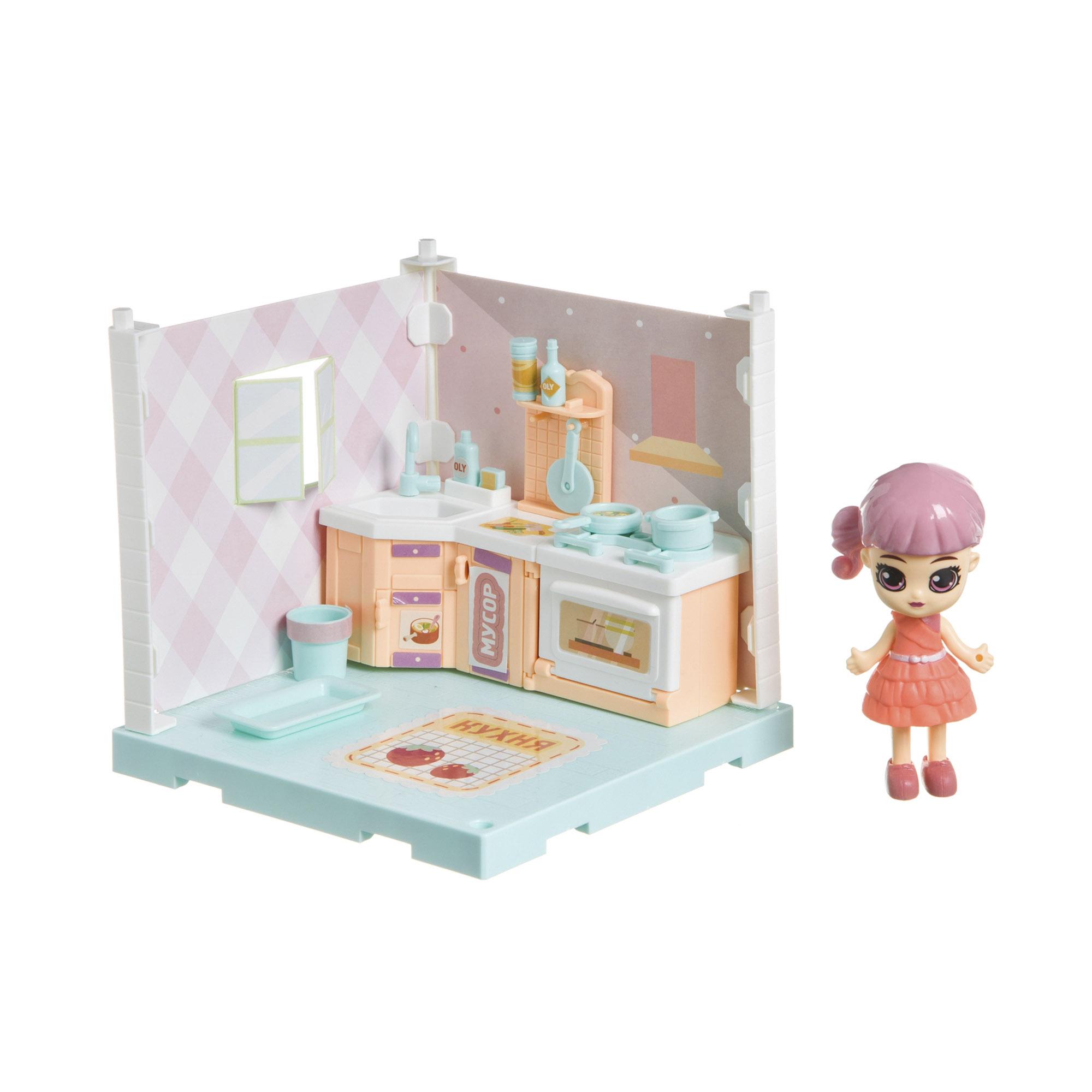 Фото - Набор игровой Bondibon Кукольный уголок кухня и куколка Oly набор игровой bondibon кукольный уголок гостиная и куколка oly