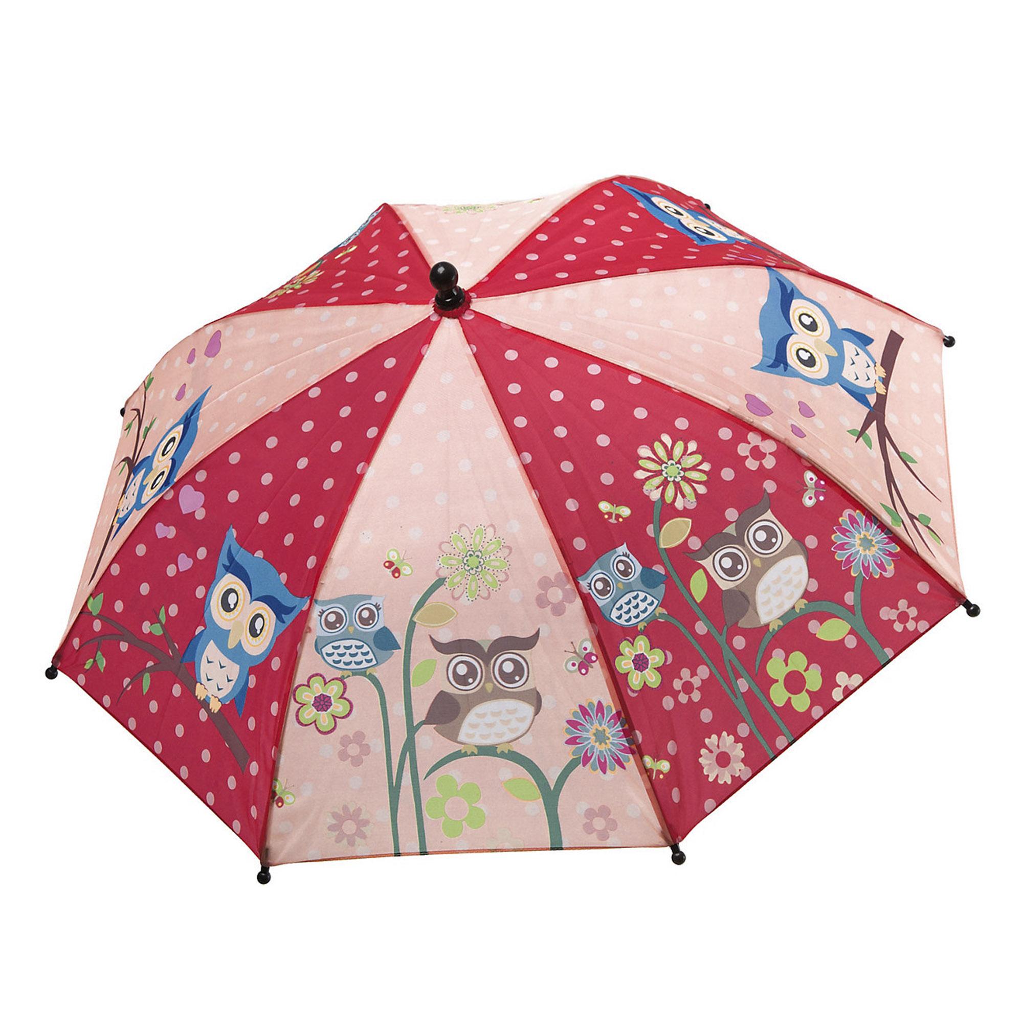 Зонт детский механический BONDIBON розовый/ красный с совятами ВВ4432