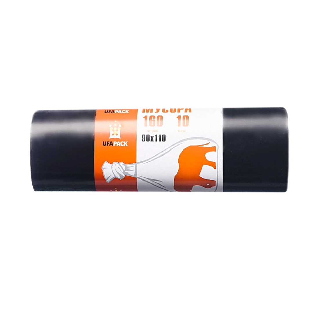 Мешки для мусора UFAPACK ПВД 160 л 10 шт мешки для мусора ufapack с ушками черные 35 л 30 шт