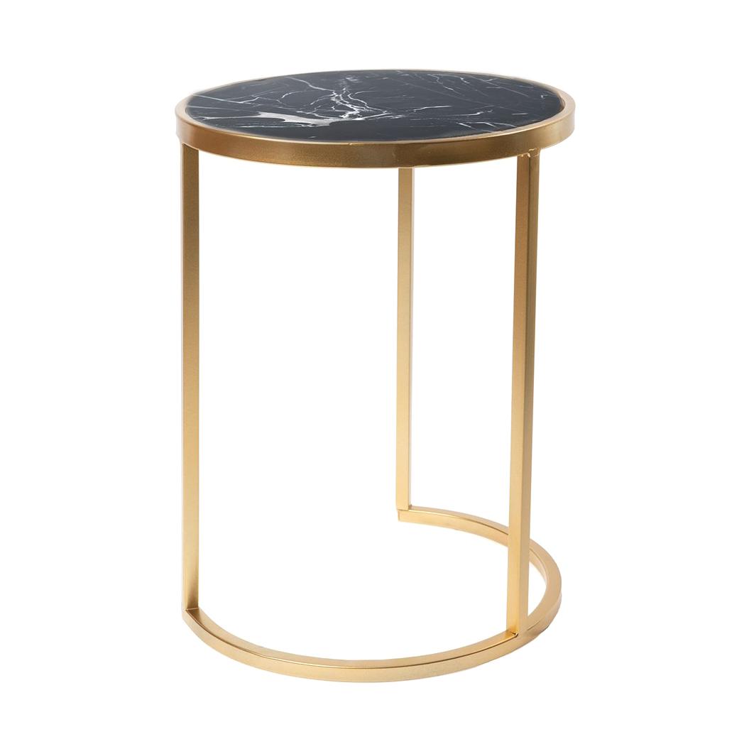 Фото - Столик интерьерный с чёрным мрамором Glasar 32x32x43 см столик приставной glasar серебристого цвета с золотыми птичками на ветке 43x43x71 см