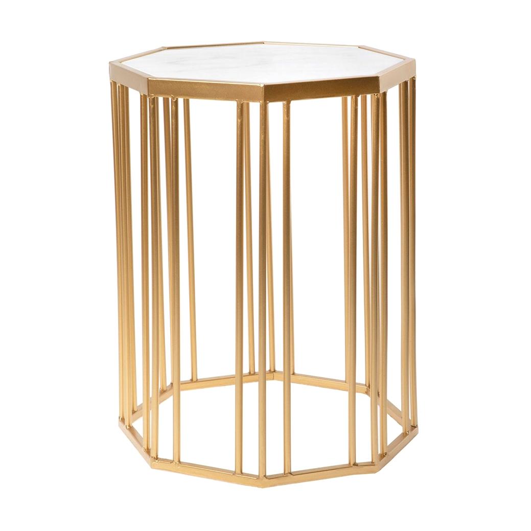 Фото - Столик интерьерный с белым мрамором Glasar 34x34x44 см столик приставной glasar серебристого цвета с золотыми птичками на ветке 43x43x71 см