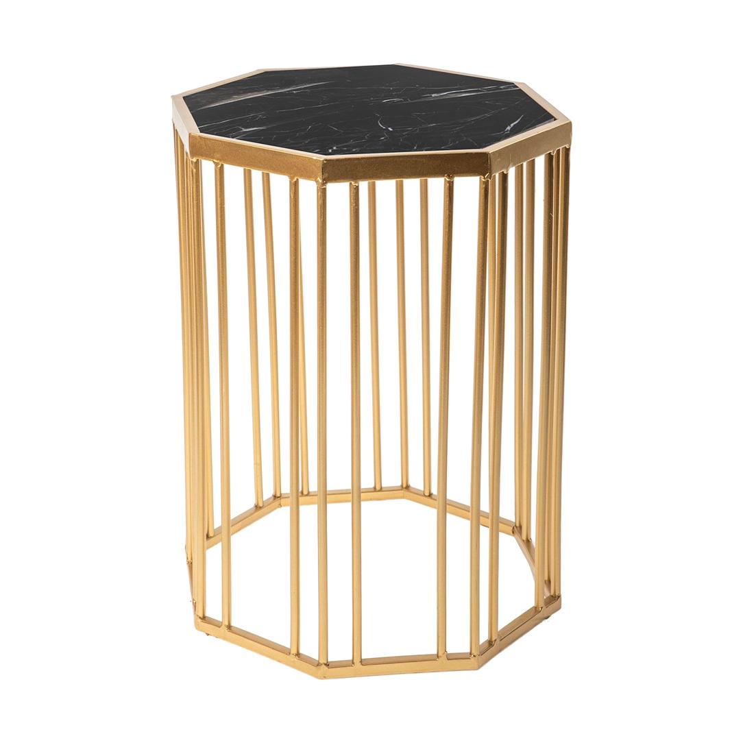 Фото - Столик интерьерный с чёрным мрамором Glasar 34x34x44 см столик приставной glasar серебристого цвета с золотыми птичками на ветке 43x43x71 см