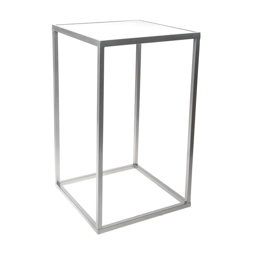 Фото - Столик интерьерный с белым мрамором Glasar 31x31x59 см столик приставной glasar серебристого цвета с золотыми птичками на ветке 43x43x71 см