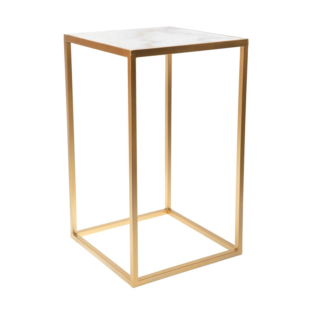 Фото - Столик интерьерный с белым мрамором Glasar 38x38x64 см столик приставной glasar серебристого цвета с золотыми птичками на ветке 43x43x71 см