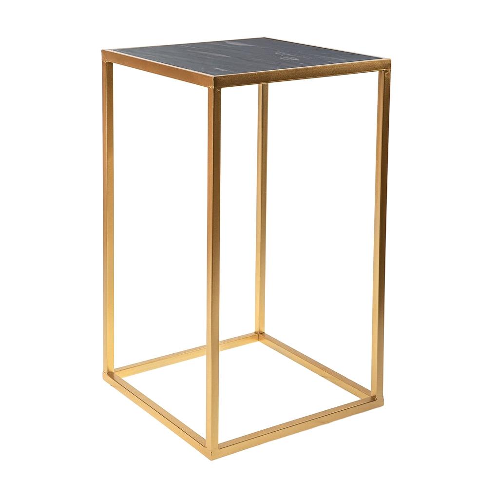 Фото - Столик интерьерный с чёрным мрамором Glasar 38x38x64 см столик приставной glasar серебристого цвета с золотыми птичками на ветке 43x43x71 см