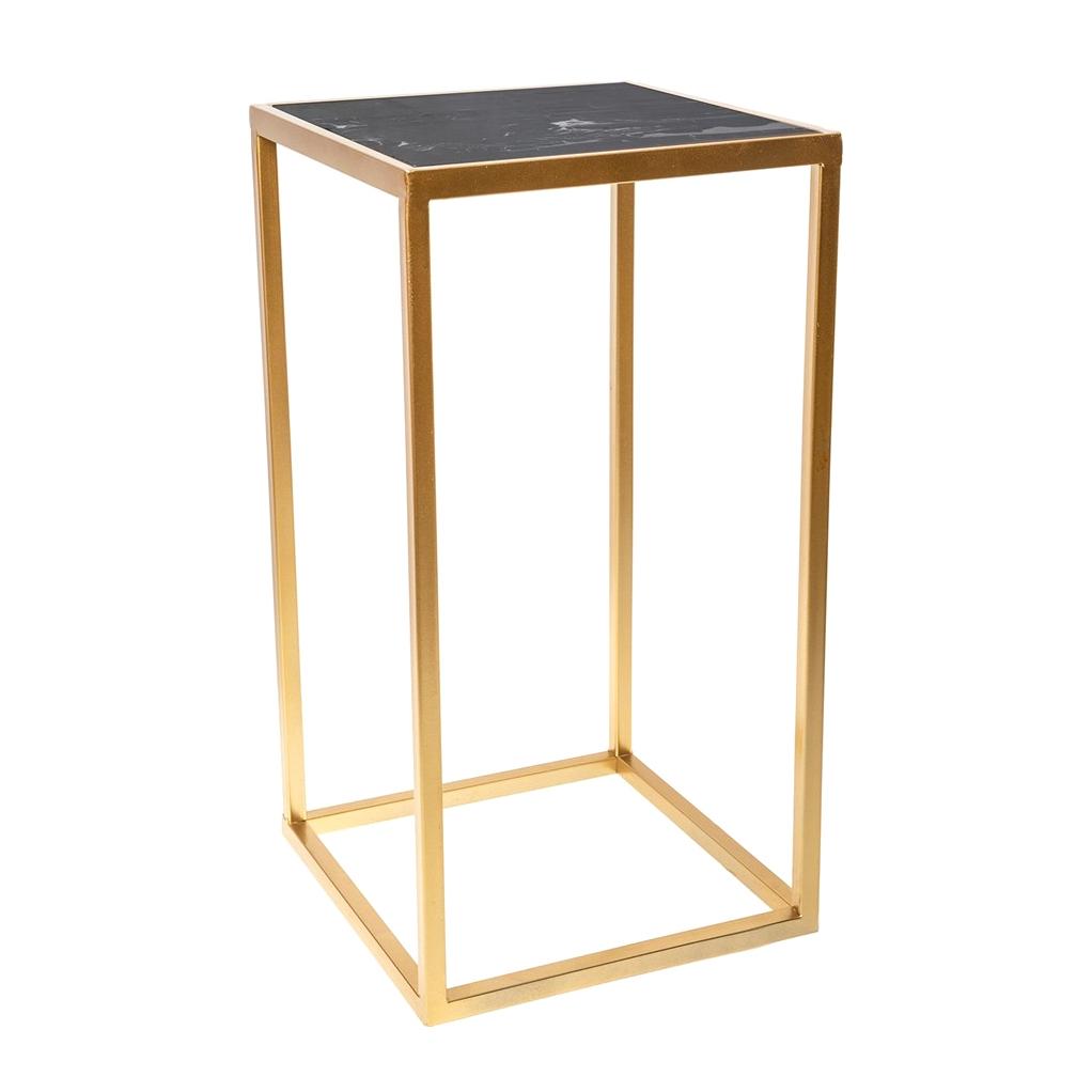 Фото - Столик интерьерный с чёрным мрамором Glasar 31x31x59 см столик приставной glasar серебристого цвета с золотыми птичками на ветке 43x43x71 см