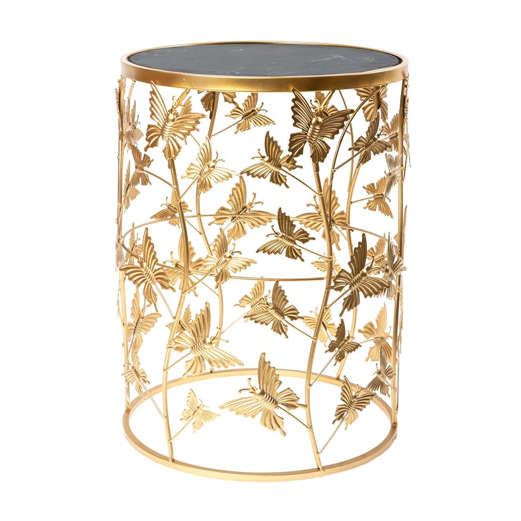 Фото - Столик интерьерный с чёрным мрамором Glasar 42x42x55 см столик приставной glasar серебристого цвета с золотыми птичками на ветке 43x43x71 см