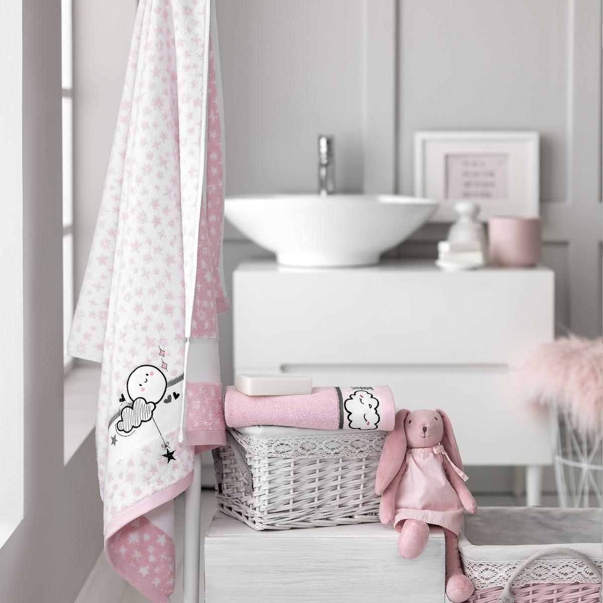 Фото - Комплект полотенец Togas Трейси белый/розовый 2 пр 50х75/70х130 комплект полотенец togas миэль темно серый 2 пр 50х100 70х140