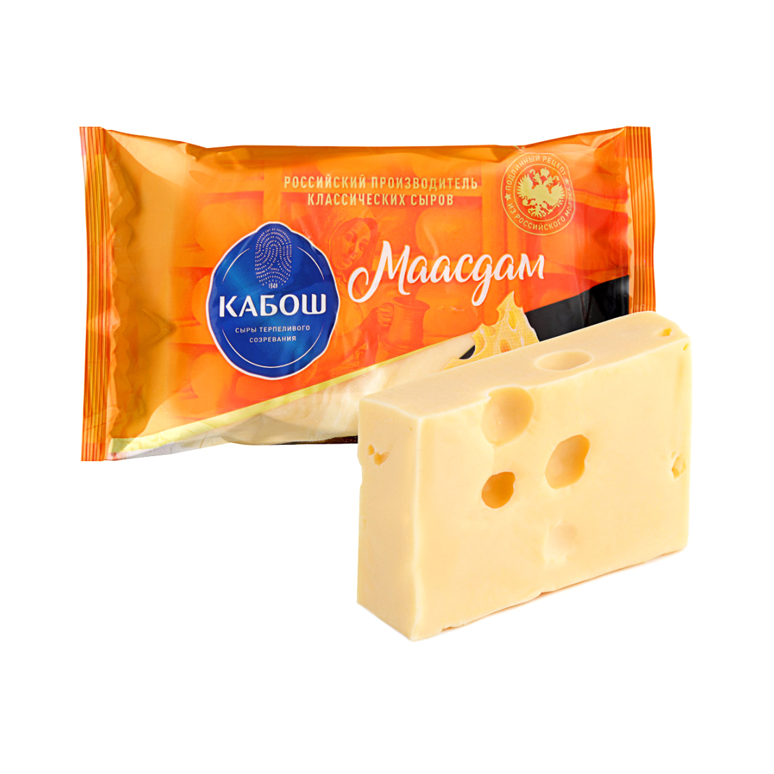 Фото - Сыр Кабош Маасдам 45%, 220 г сыр твердый кабош чеддер красный 49% 200 г