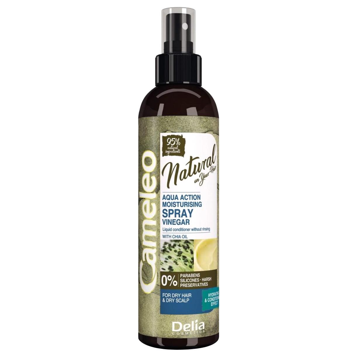 Спрей-кондиционер Delia Cosmetics Cameleo Natural On Your Hair Aqua Action с маслом чиа 200 мл кератиновый кондиционер delia cosmetics cameleo вв объем волос 200 мл