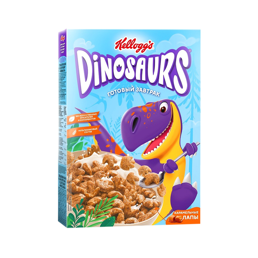 печенье kellogg s dinosaurs сахарное в молочной глазури 127 г Готовый завтрак Kellogg`s Dinosaurs Карамельные лапы из злаков, 220 г