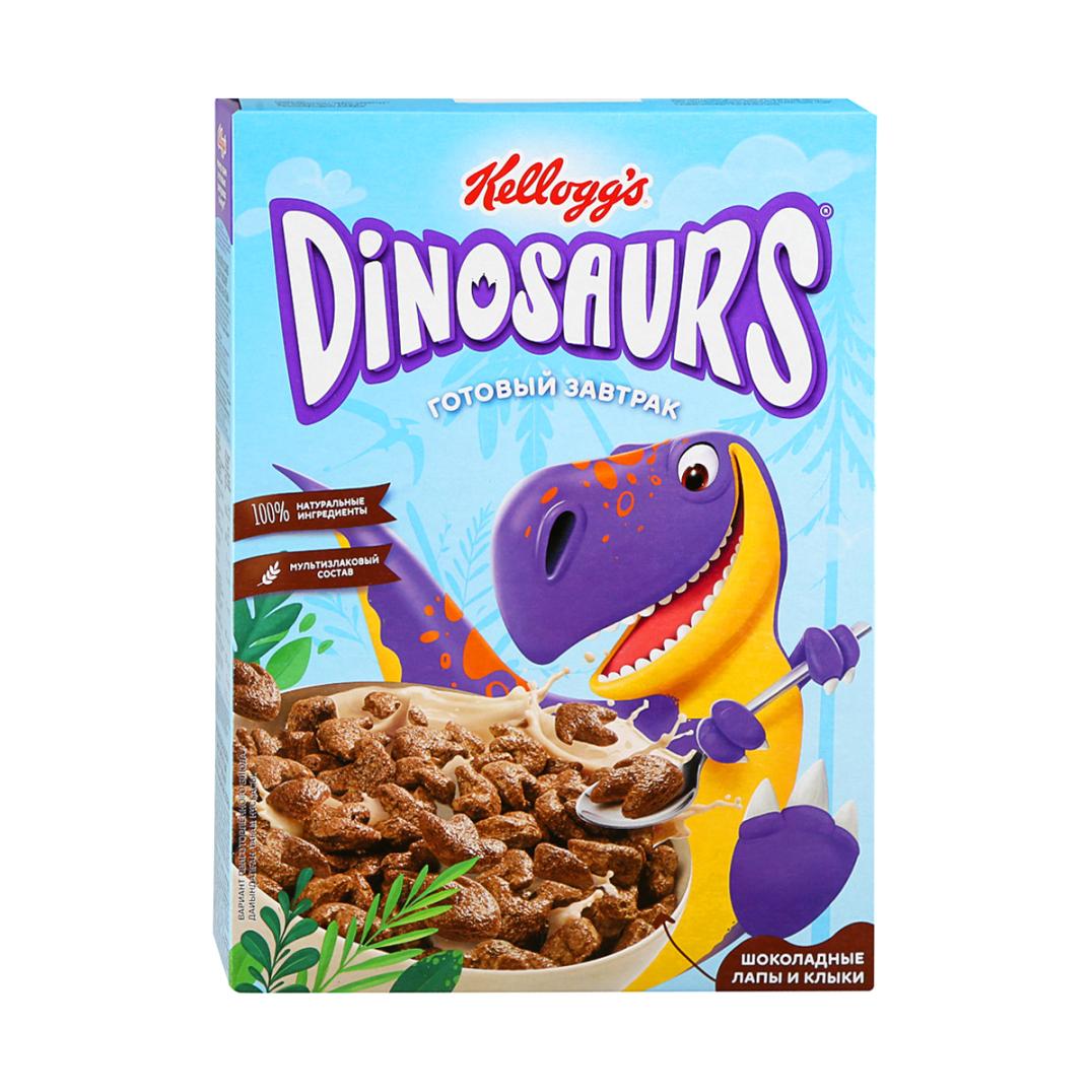 печенье kellogg s dinosaurs сахарное в молочной глазури 127 г Готовый завтрак Kellogg`s Dinosaurs Шоколадные лапы и клыки из злаков, 220 г