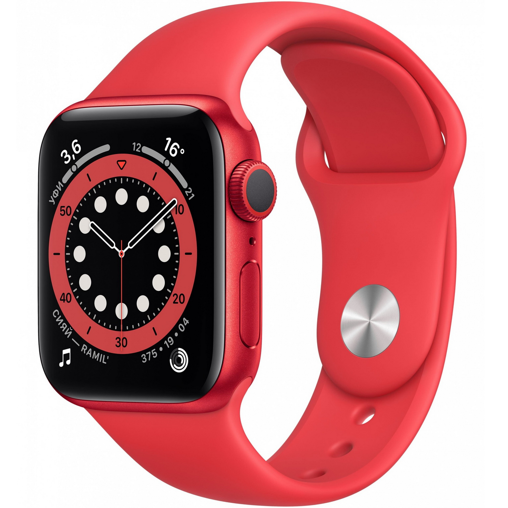 Фото - Смарт-часы Apple Watch Series 6 GPS 40 мм Red Sport Band M00A3RU/A masaqi stainless steel watch band for tissot t035 prc200 t41 watchband butterfly buckle strap l164 l264 high quality strap