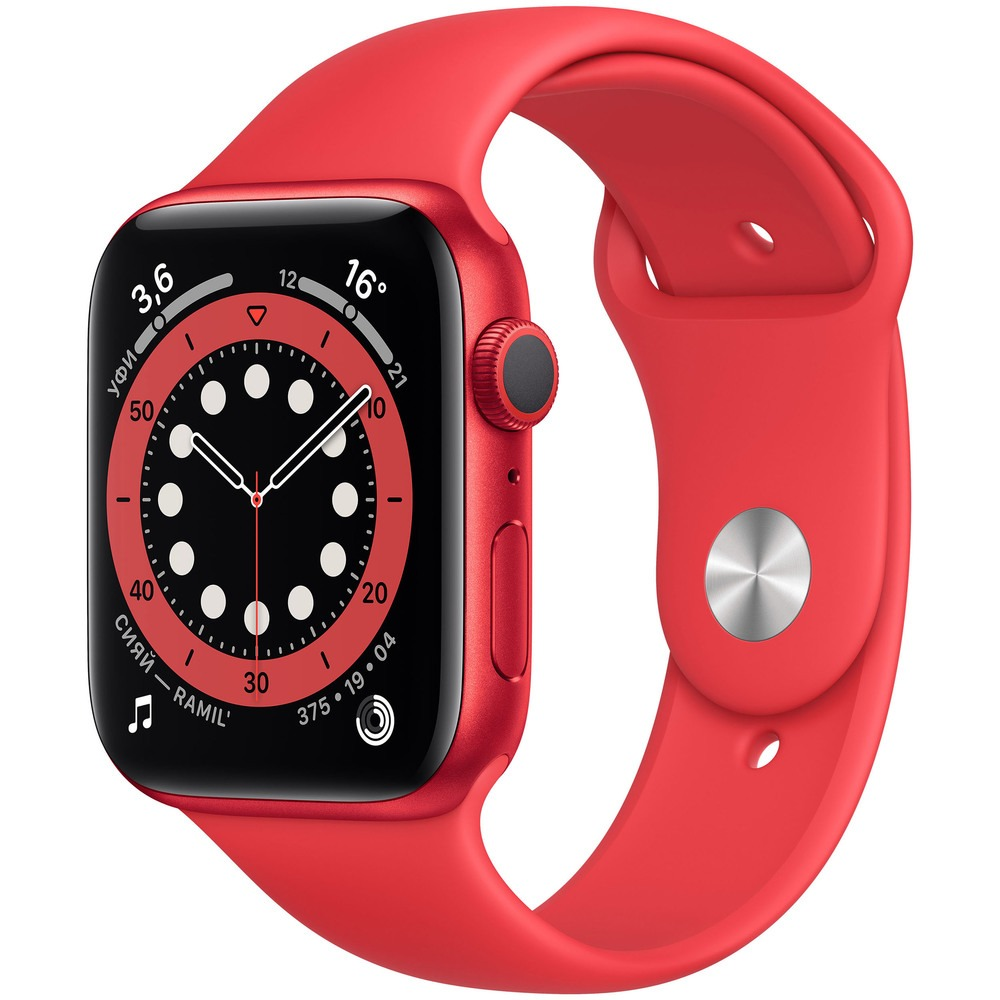 Фото - Смарт-часы Apple Watch Series 6 44 мм Red M00M3RU/A weide new arrival fashion watch men 3atm waterproof silicone band sports military watches men s luxury analog quartz wrist watch
