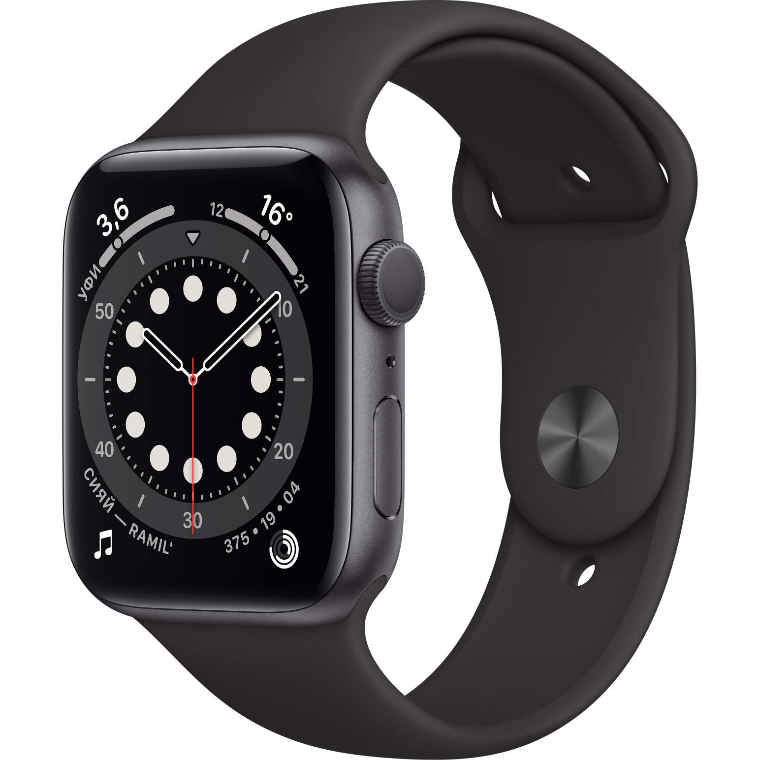 Смарт-часы Apple Watch 6 GPS 44мм Space Gray M00H3RU/A смарт часы apple watch series 6 40 мм золотой mg123ru a