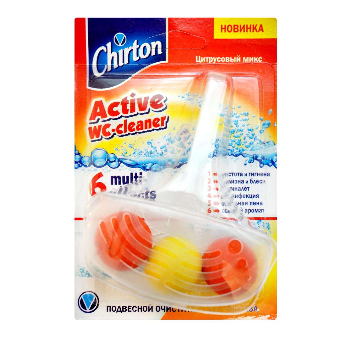 Фото - Подвесной очиститель для унитаза Chirton Цитрусовая свежесть 45 г чистящий кубик для унитаза chirton альпийская долина 3x50 г