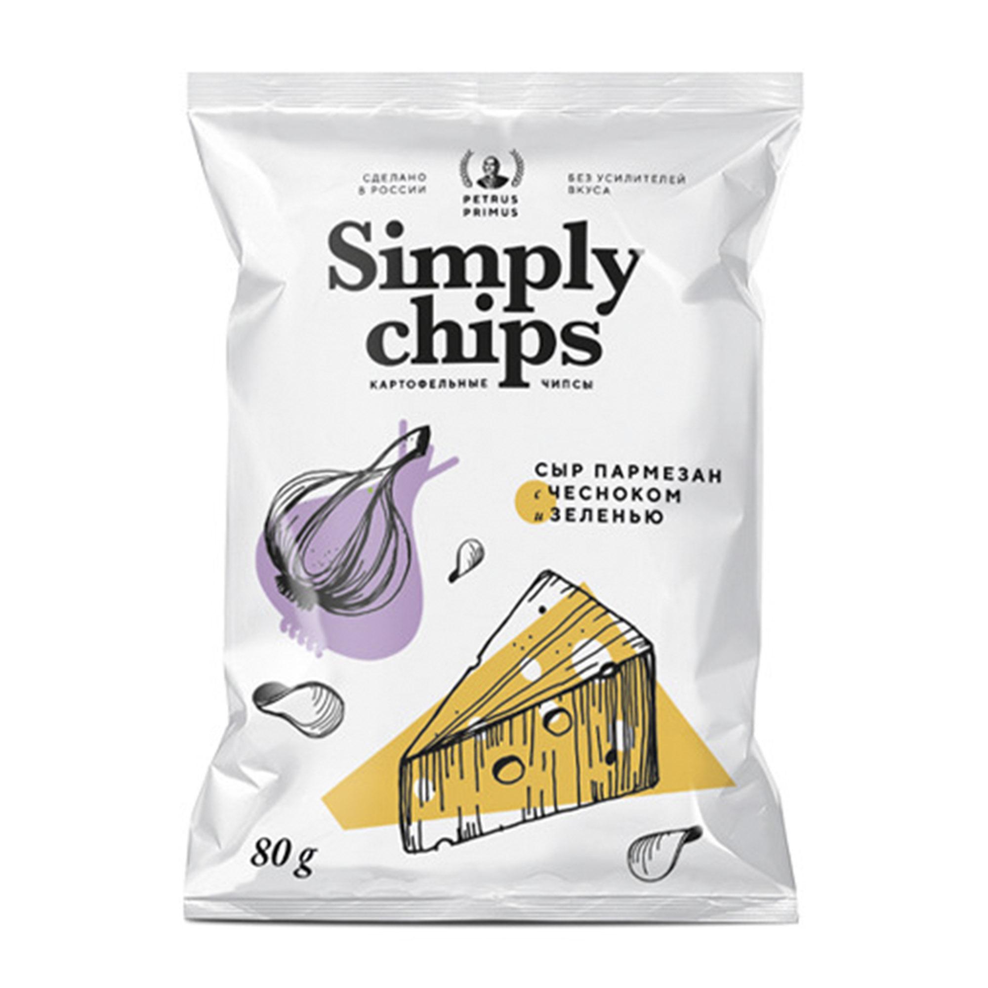 Чипсы картофельные Simply Chips Пармезан, чеснок, зелень 80 г