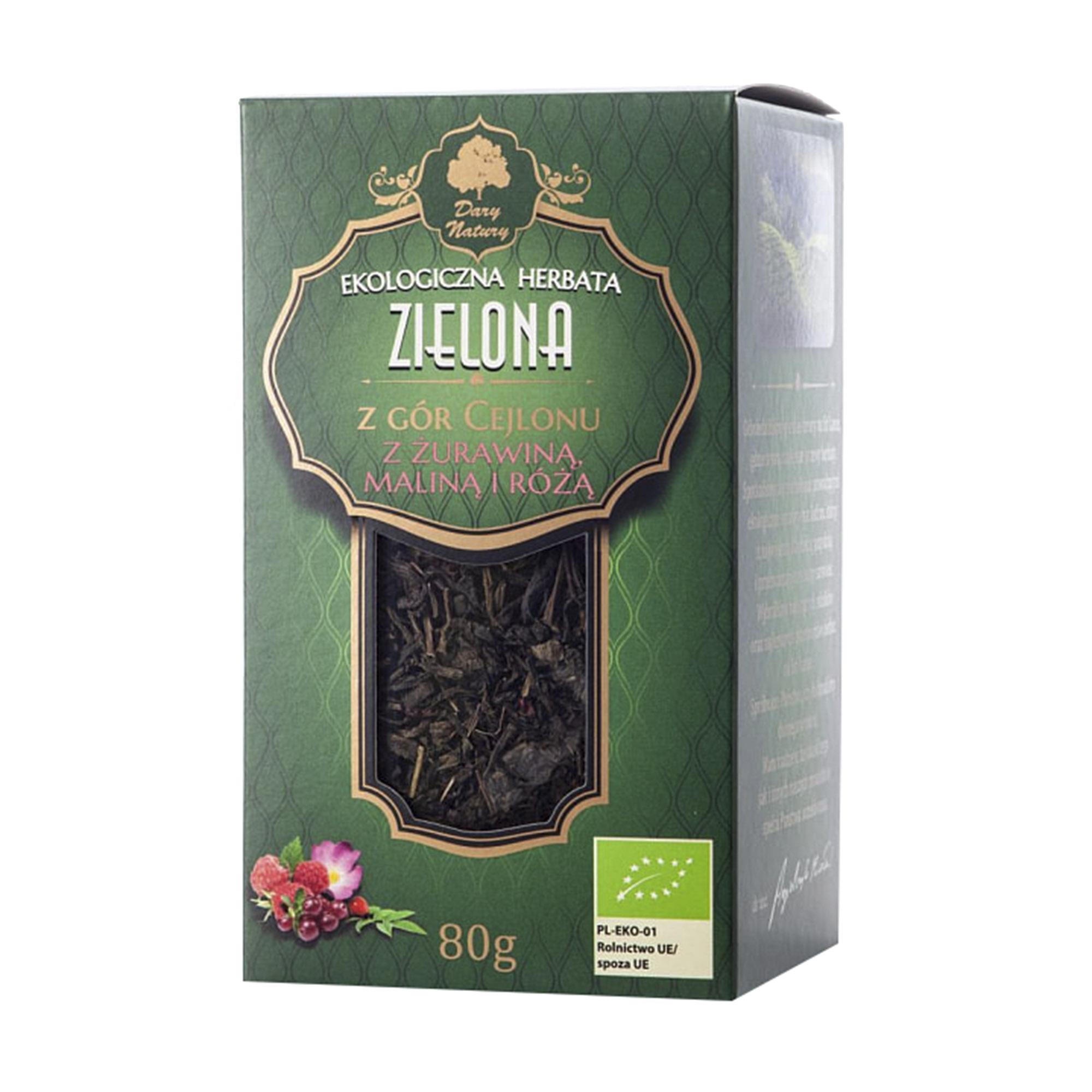 Чай зелёный цейлонский Dary Natury с клюквой, малиной и шиповником 80 г