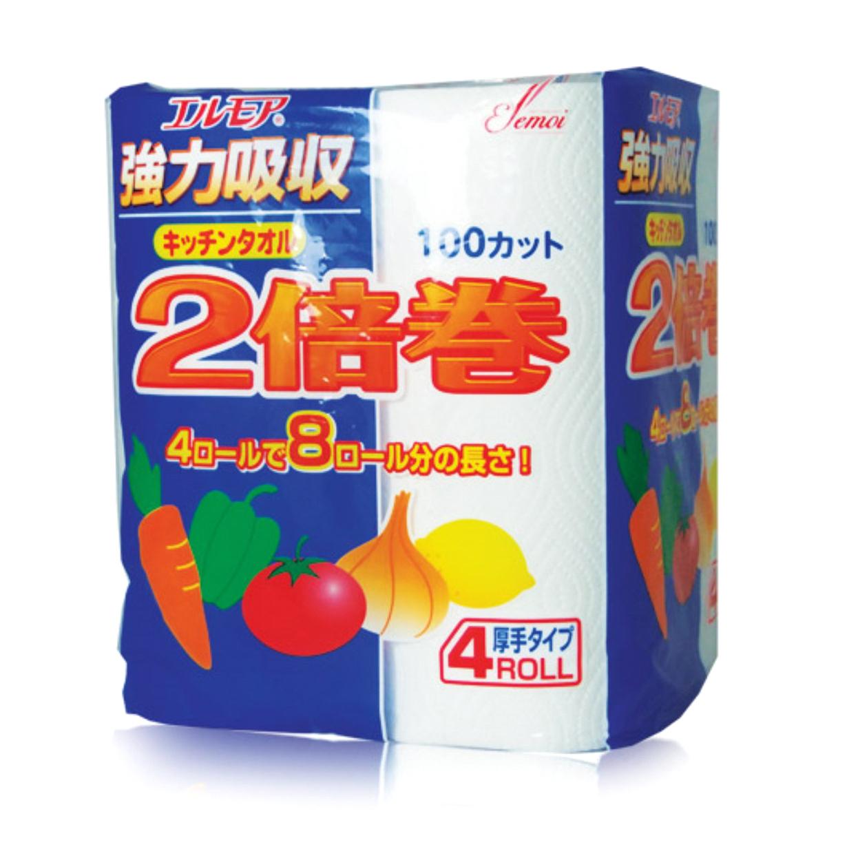 Бумажные полотенца для кухни Kami Shodji Ellemoi 4 рулона салфетки бумажные kami shodji ellemoi kinu bi голубые с шелком 2 слоя 200 шт в пачке