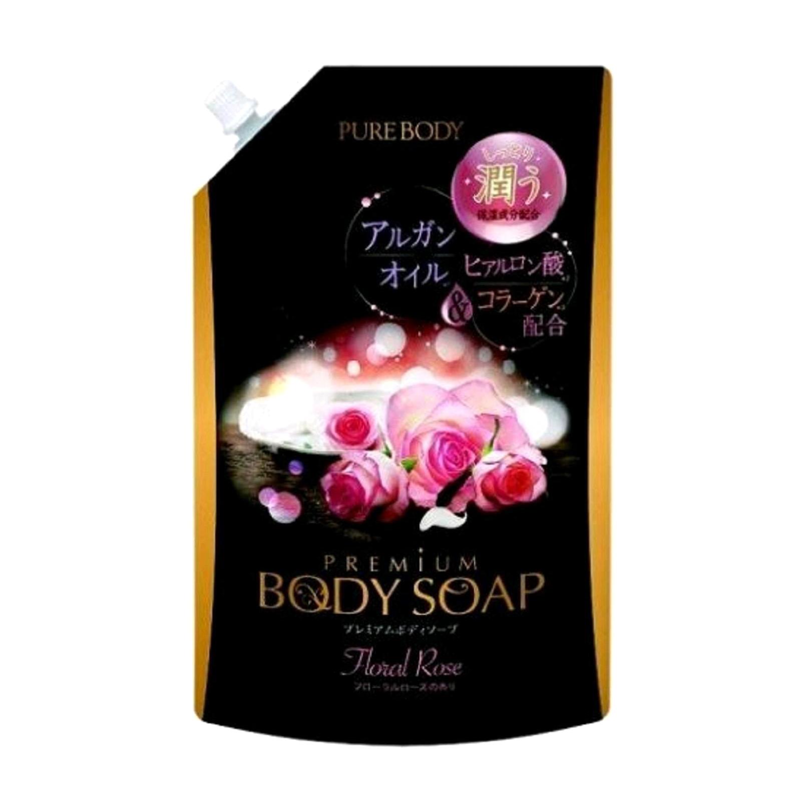 Увлажняющий гель для душа Mitsuei Pure Body Premium с аргановым маслом, гиалуроновой кислотой и коллагеном роскошным ароматом роз 840 мл