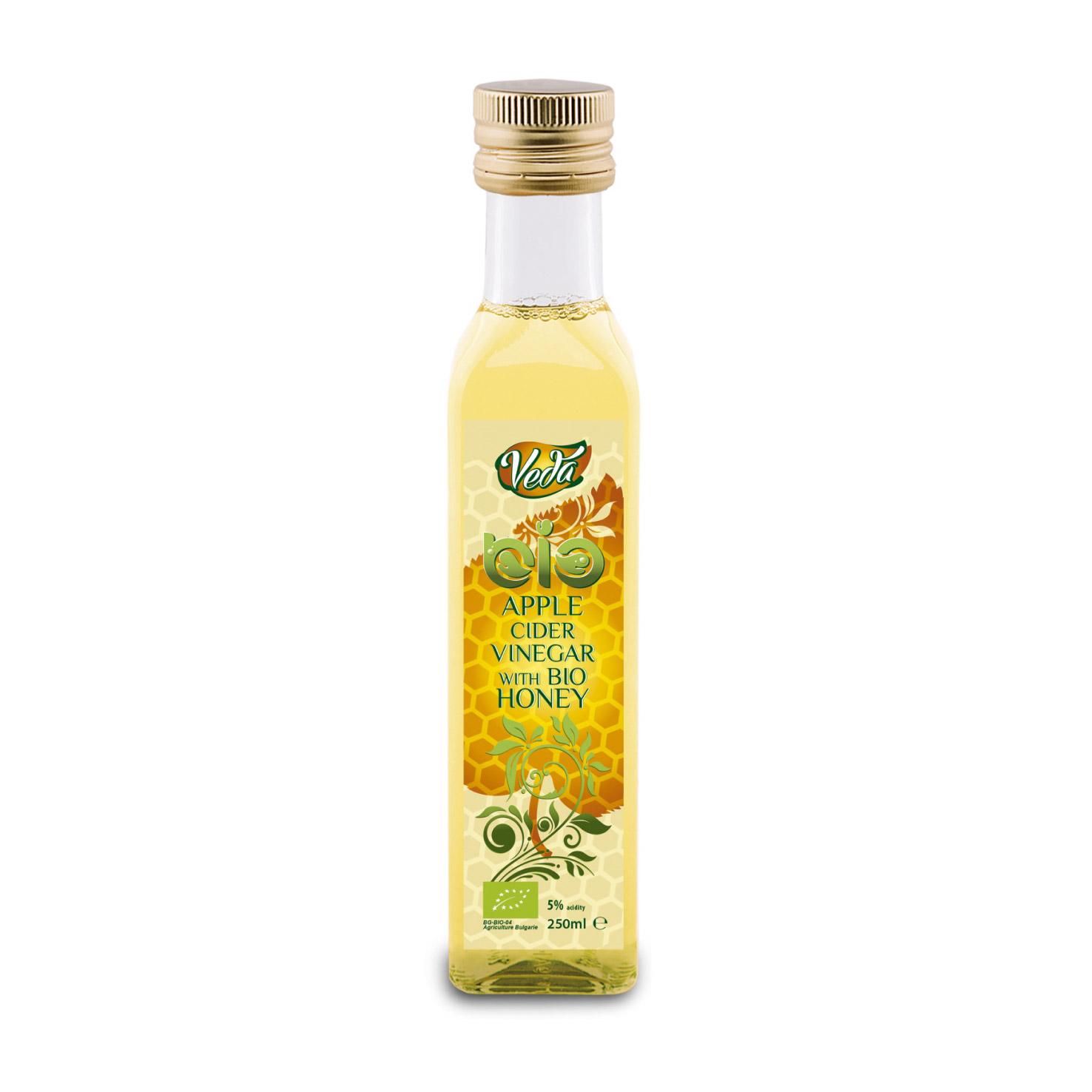 Уксус яблочный Veda с пчелиным медом органический 5% 250 мл.