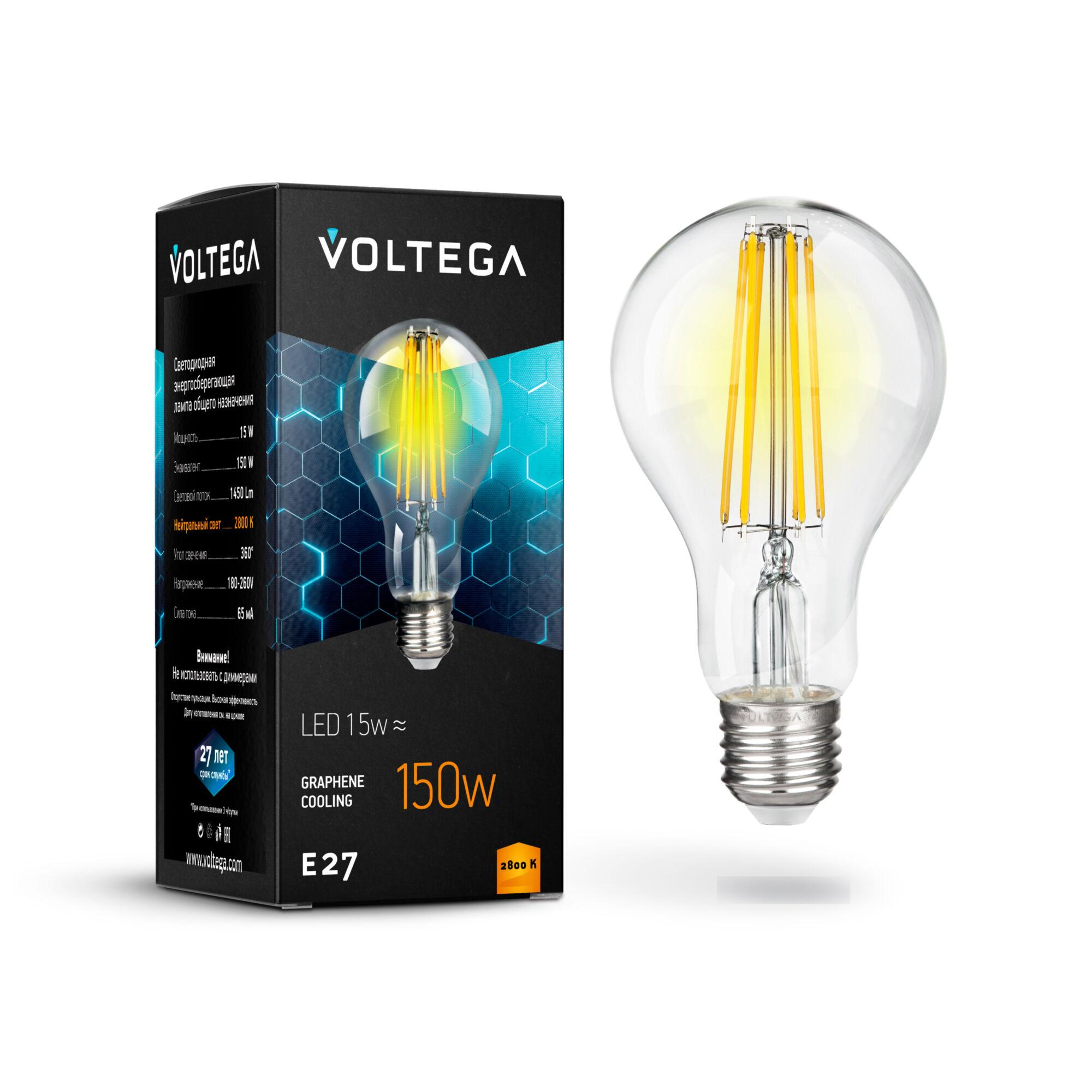 Фото - Лампочка Voltega General purpose bulb Е27 15W 2800К лампочка voltega candel matt е27 6w 2800к