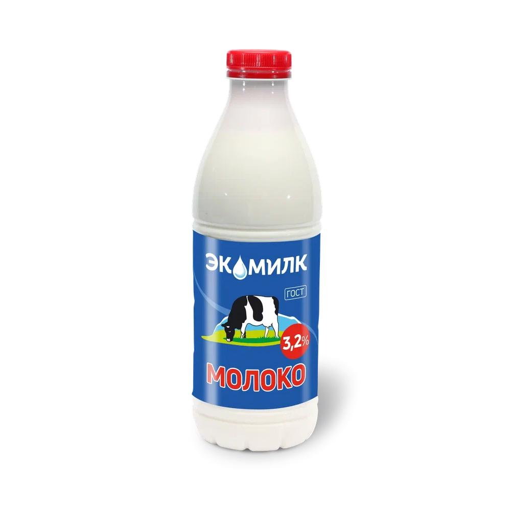 Молоко Экомилк пастеризованное 3,2%, 930 мл экомилк бзмж молоко цельное отборное питьевое пастеризованное 3 4 4 5% 900мл экомилк