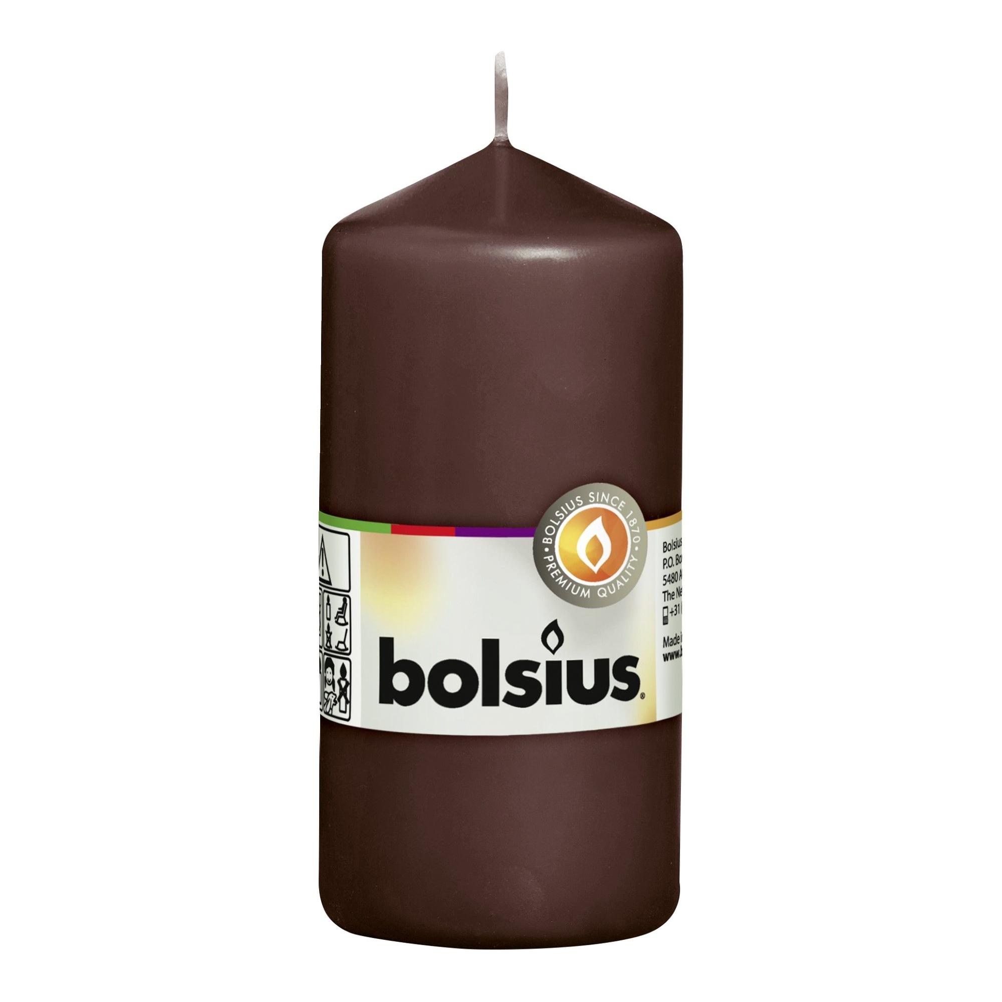 Фото - Свеча-столбик Bolsius 12x6 коричневая свеча столбик bolsius 12x6 коричневая