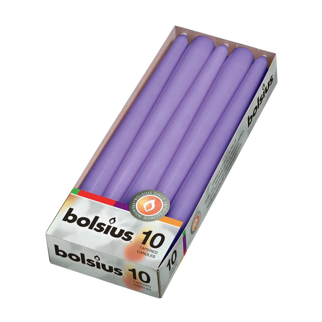 Свечи столовые Bolsius 10 шт ультрафиолетовые