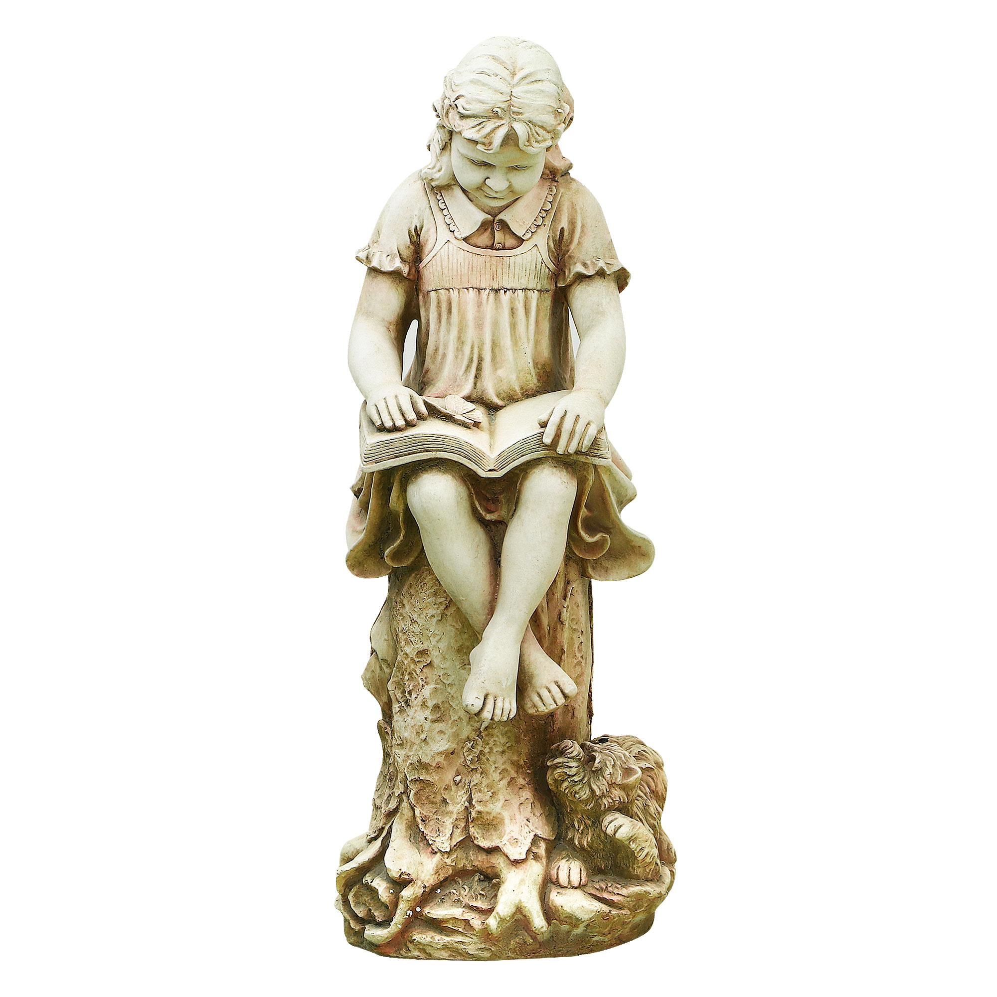Фигура садовая Shimmer arts Девочка с книгой 40х33х90 см садовая фигура щенок с клубникой 20 х16 см 6255372