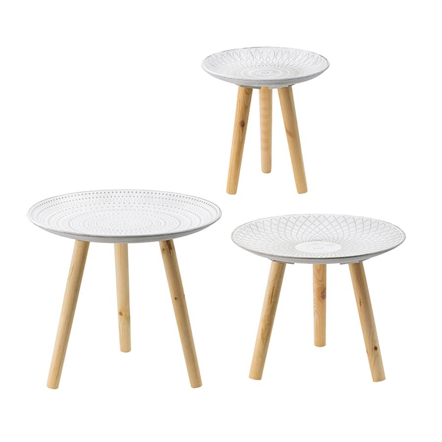 Столики Glasar 3 предмета 45x45x35см журнальные столики