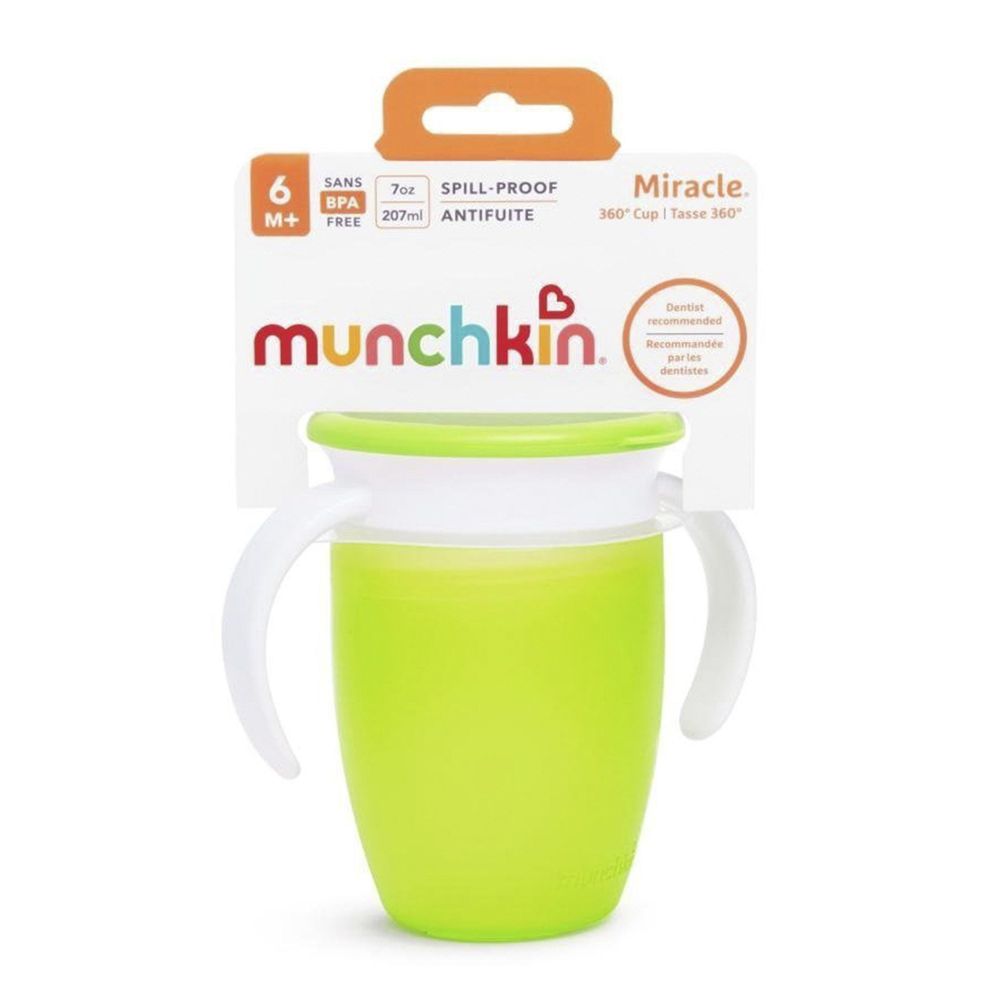 Поильник с крышкой Munchkin MIRACLE 360° непроливайка с ручками зеленый 207 мл поильник непроливайка munchkin miracle 360° зеленый 296 мл с 12 ти месяцев