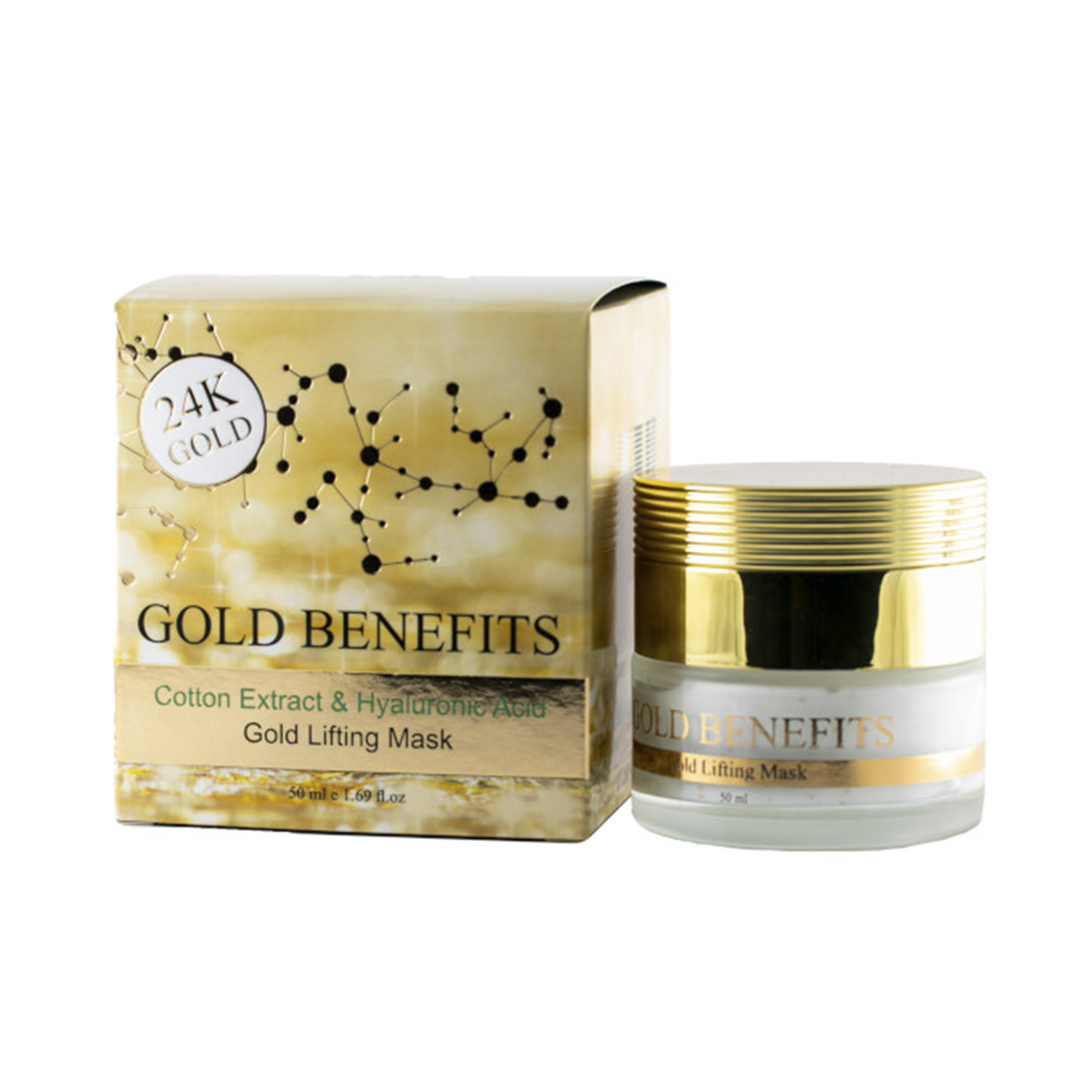 Лифтинг-маска для лица Gold Benefits с гиалуроновой кислотой и экстрактом хлопка dead sea cosmetics 50 мл