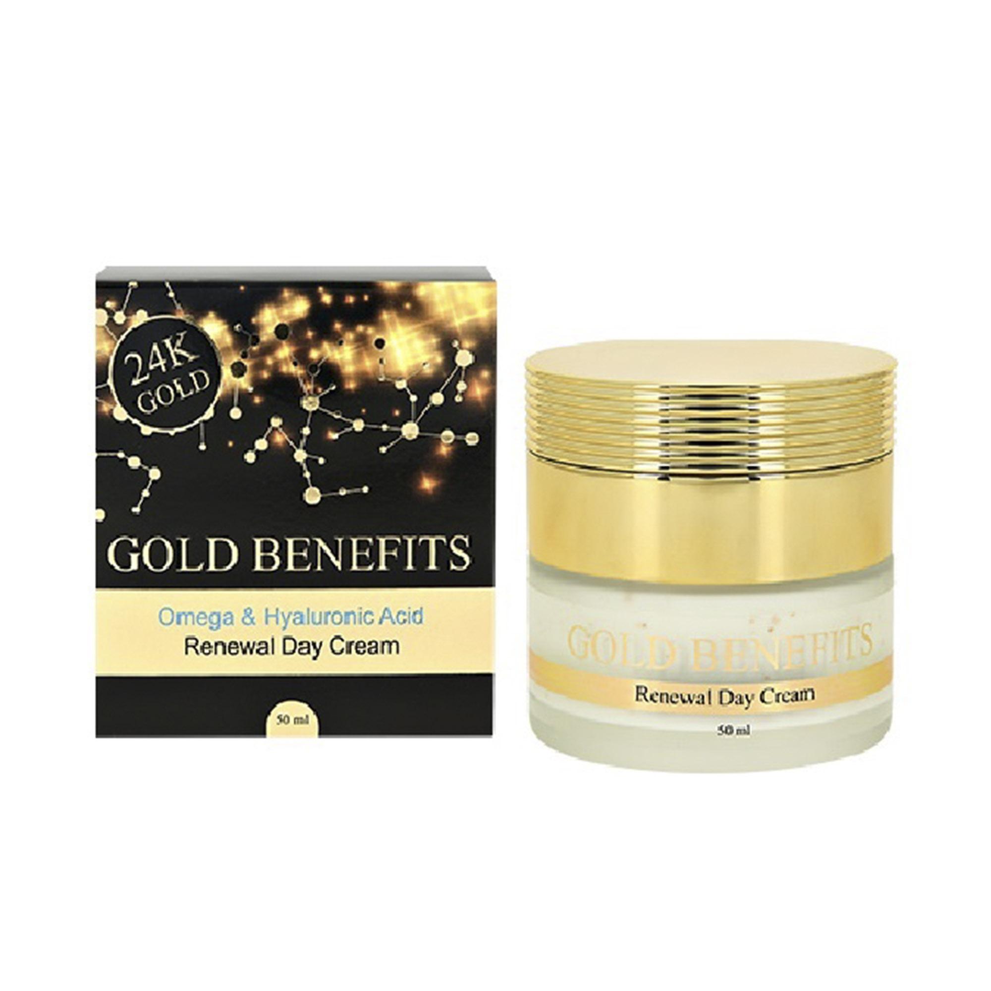 Крем для лица дневной Gold Benefits с гиалуроновой кислотой и омега 3 кислотами 50 мл