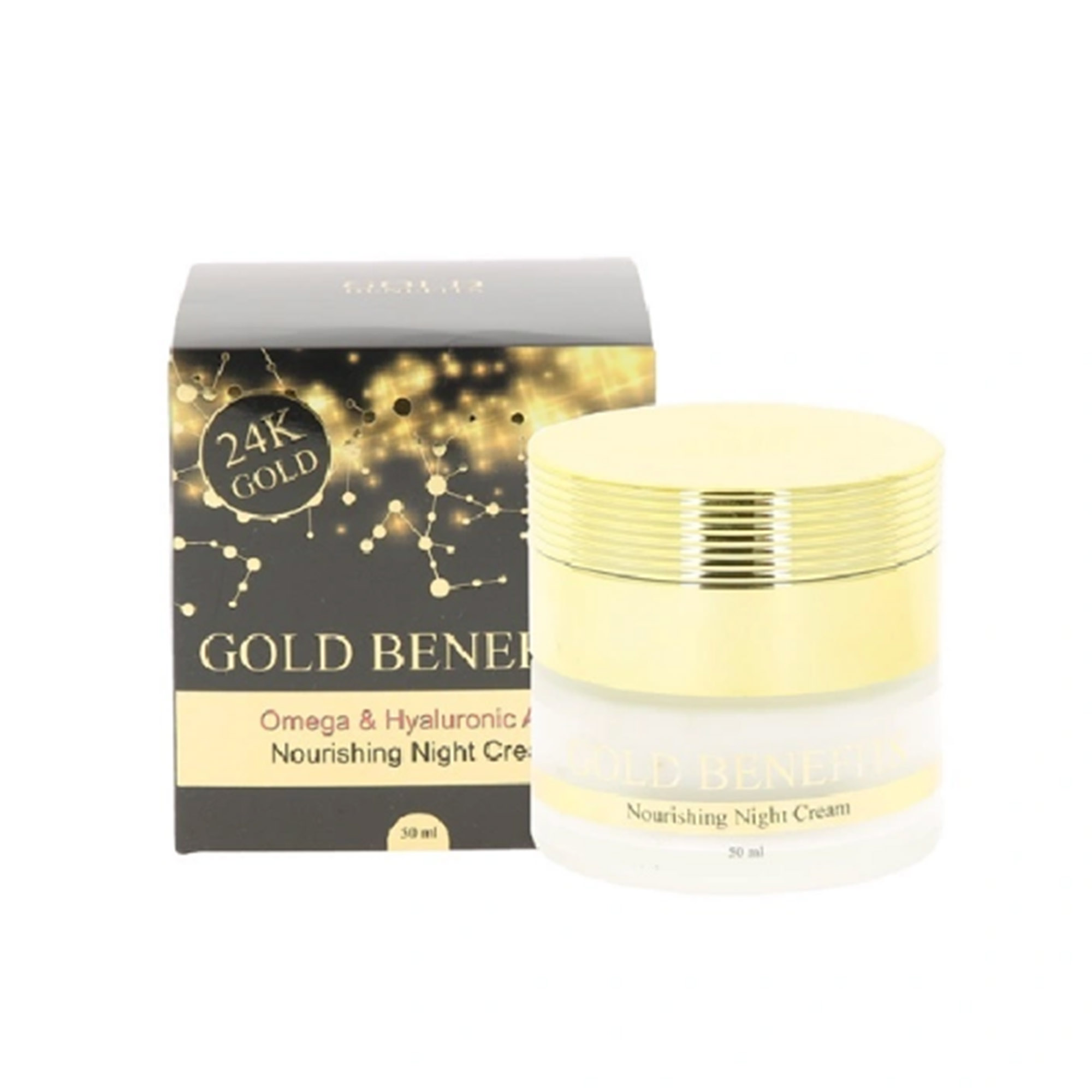 Крем для лица ночной Gold Benefits с гиалуроновой кислотой и омега 3 кислотами 50 мл