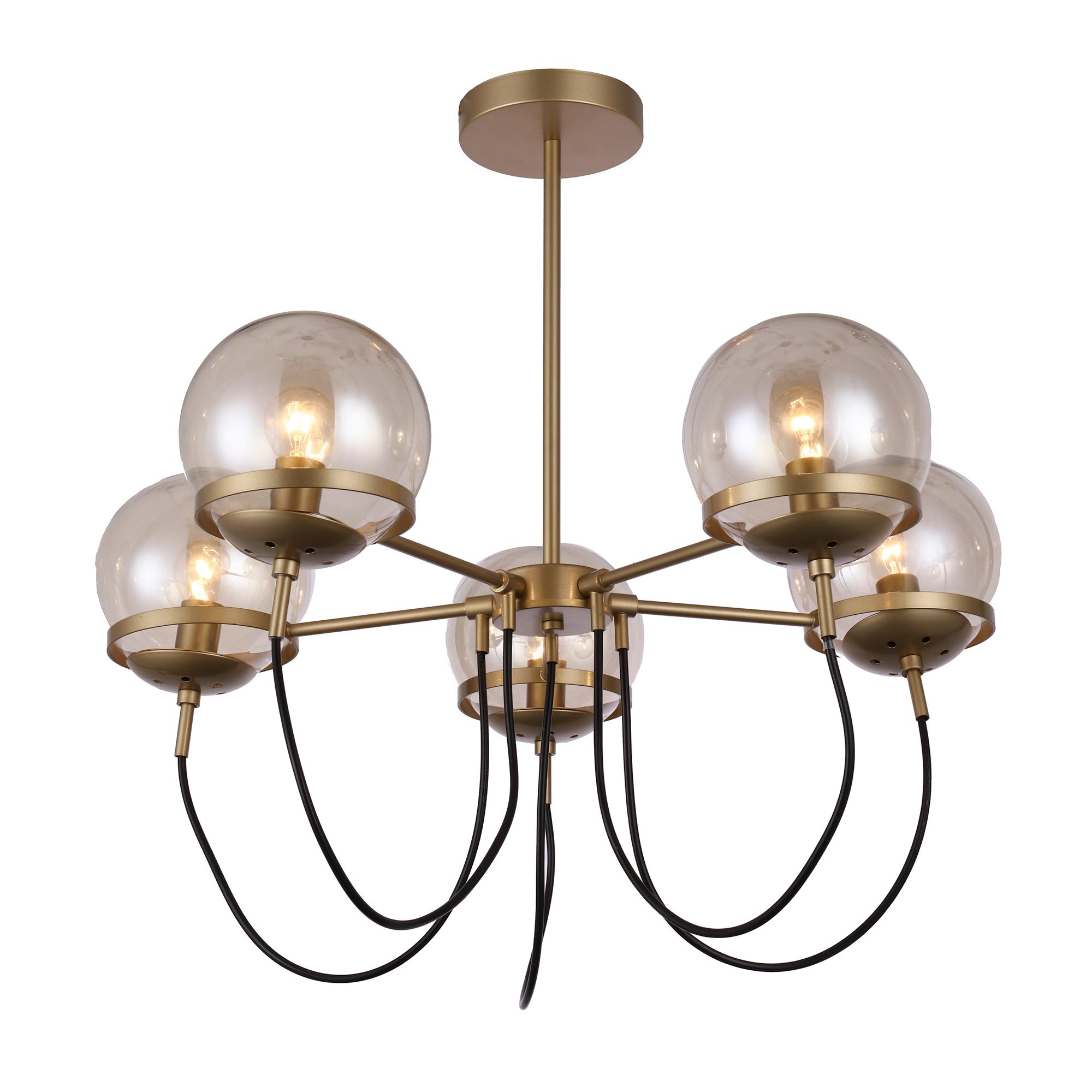 Люстра потолочная J-light IDA 1187/5C E14*5*40W золото/шампань люстра потолочная j light jeam 1013 8c e14 8 40w черный матовый