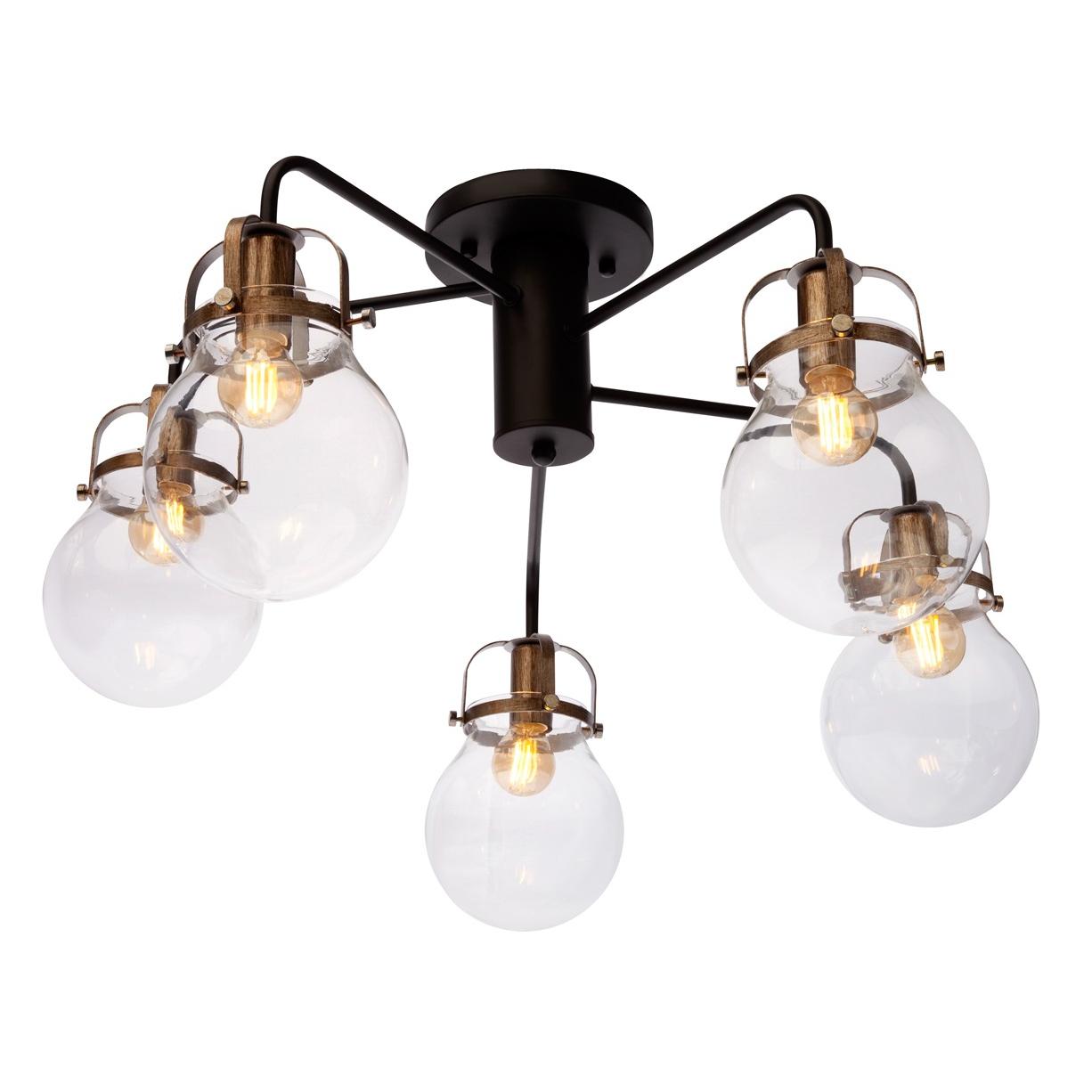 Люстра потолочная J-light REARM 1026/5C E14*5*40W черный/никель/прозрачный люстра потолочная j light jeam 1013 8c e14 8 40w черный матовый
