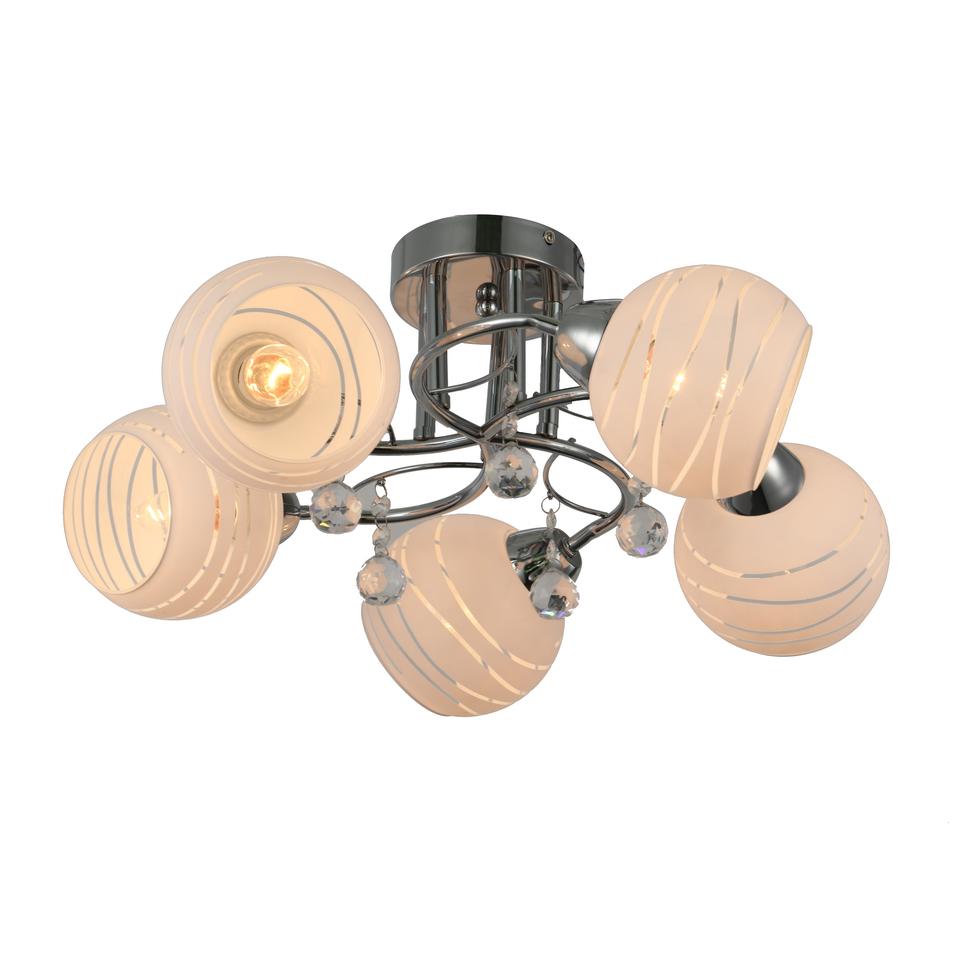 Люстра потолочная J-light PINA 3105/5C E27*5*60W хром/белый люстра потолочная j light genry 1275 5c e14 5 60w кофе золото белый