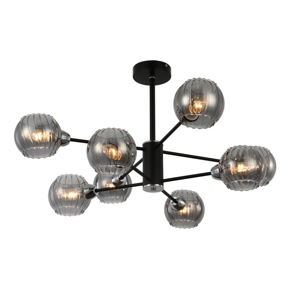 Люстра потолочная J-light JAN 3113/8C E14*8*60W черный/дымчатый серый люстра потолочная j light jeam 1013 8c e14 8 40w черный матовый