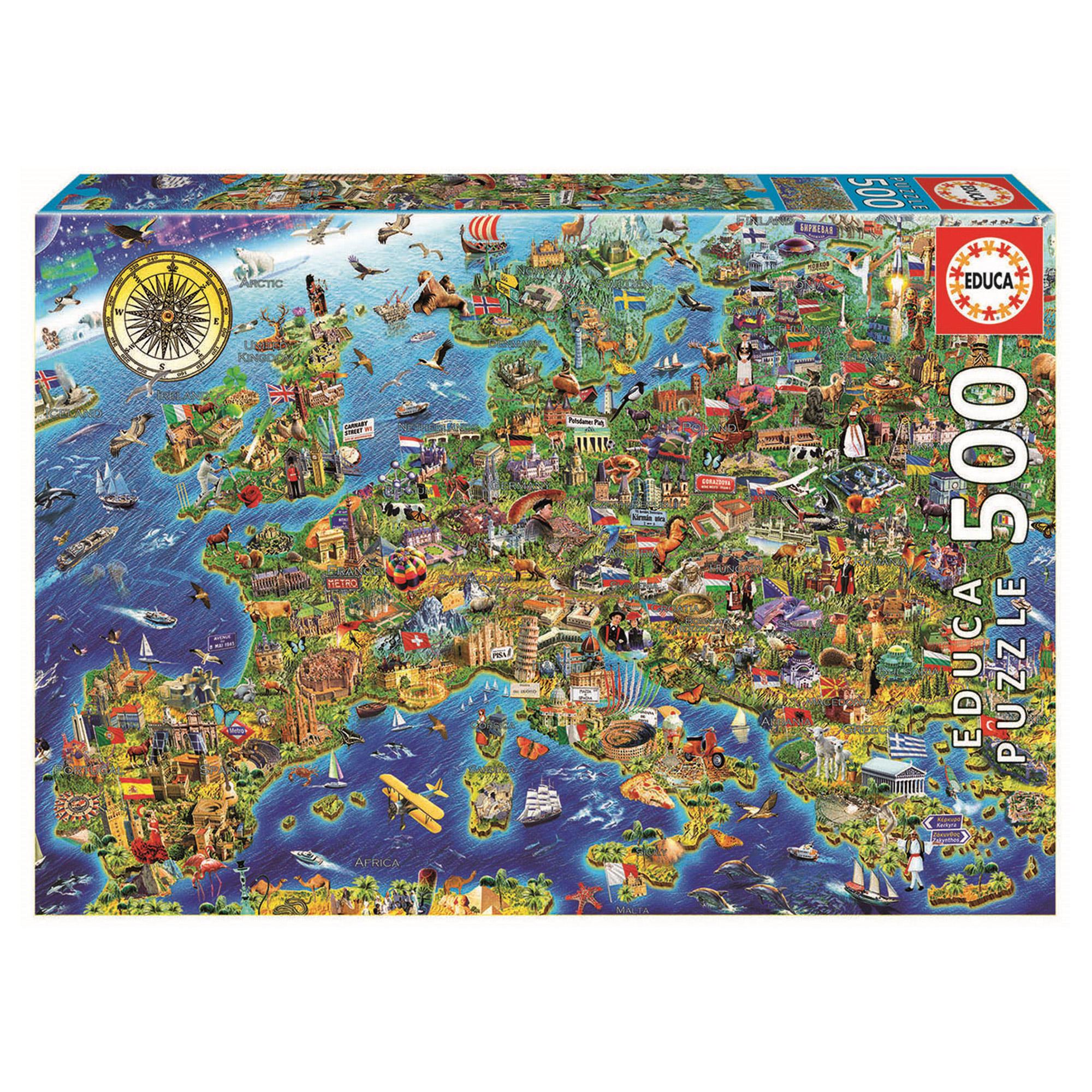 Пазл Educa Сумасшедшая карта Европы 500 деталей