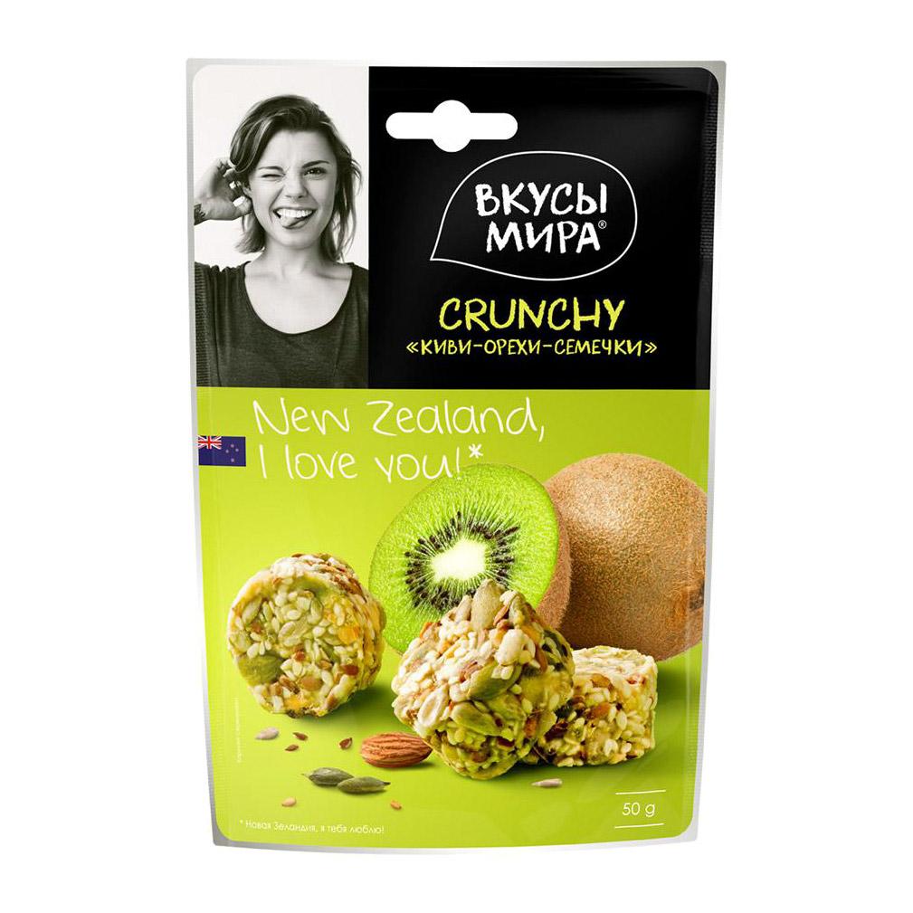 Фото - Кранчи Вкусы мира Киви-орехи-семечки 50 г туррон вкусы мира фундук и вишня 50 г
