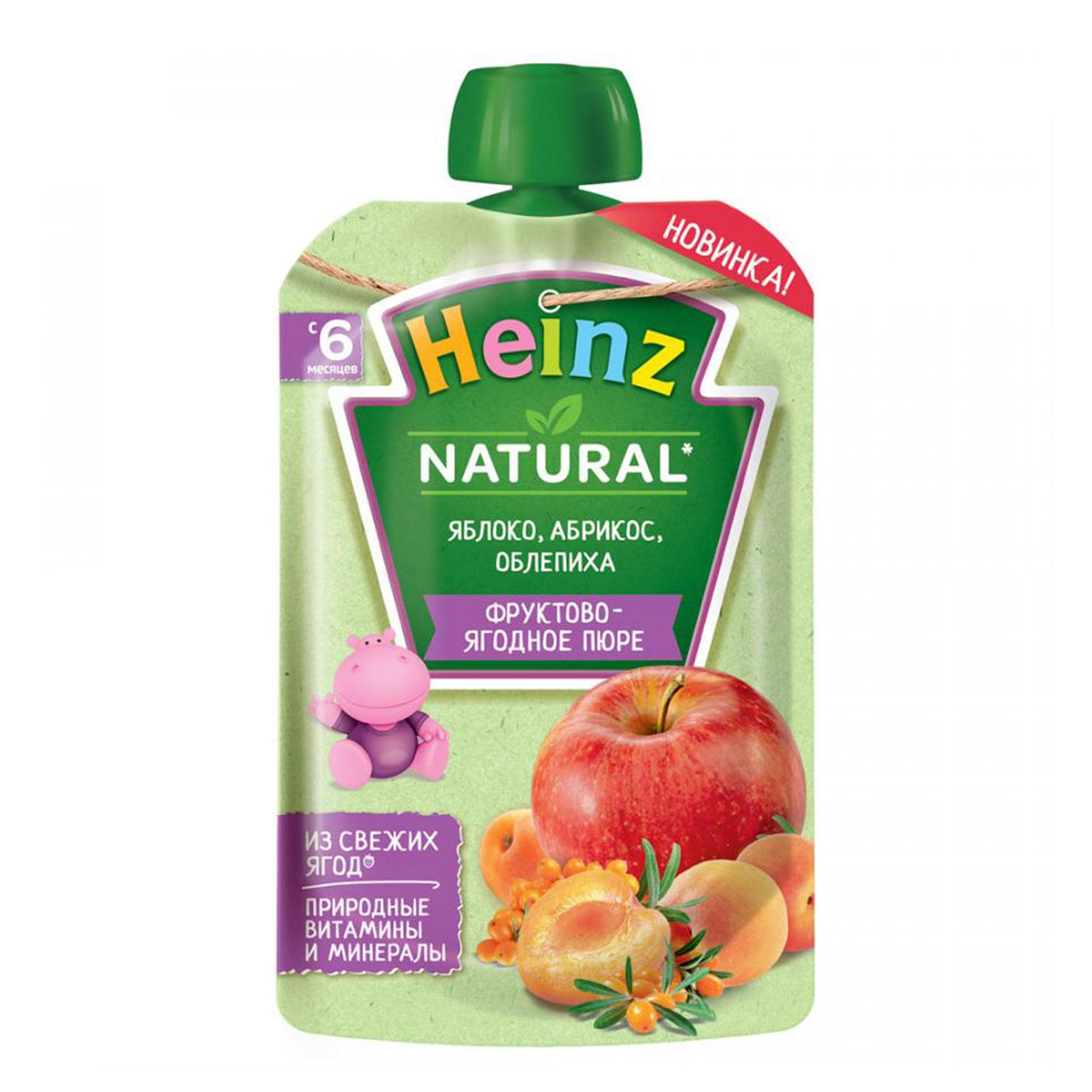 Фото - Пюре Heinz Яблоко, абрикос, облепиха с 6 месяцев 90 г пюре heinz яблоко груша кабачок 90 г