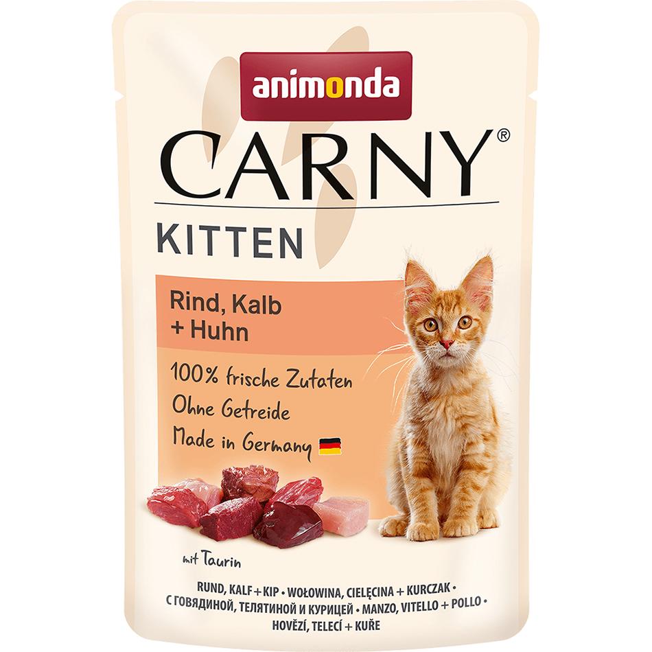 Корм для котят Animonda Carny Kitten Говядина, телятина, курица 85 г корма и питание
