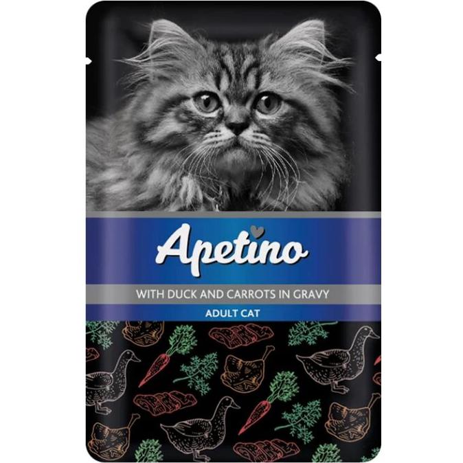 Корм для кошек Apetino Утка, морковь в соусе 85 г