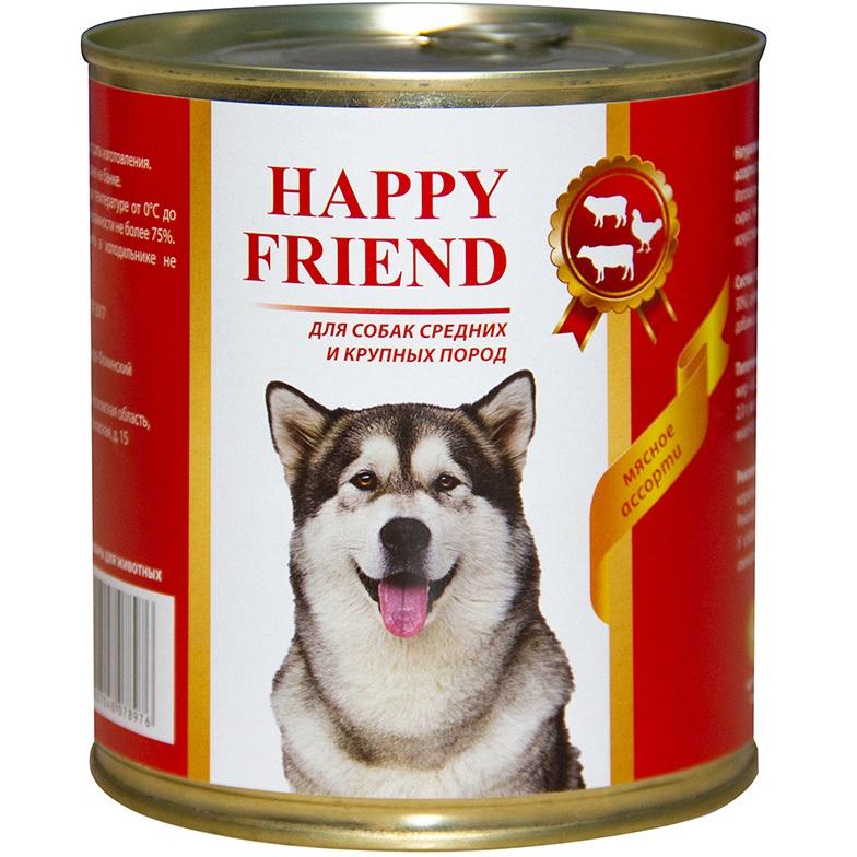 Корм для собак Happy Friend Для средних и крупных пород мясное ассорти 750 г.